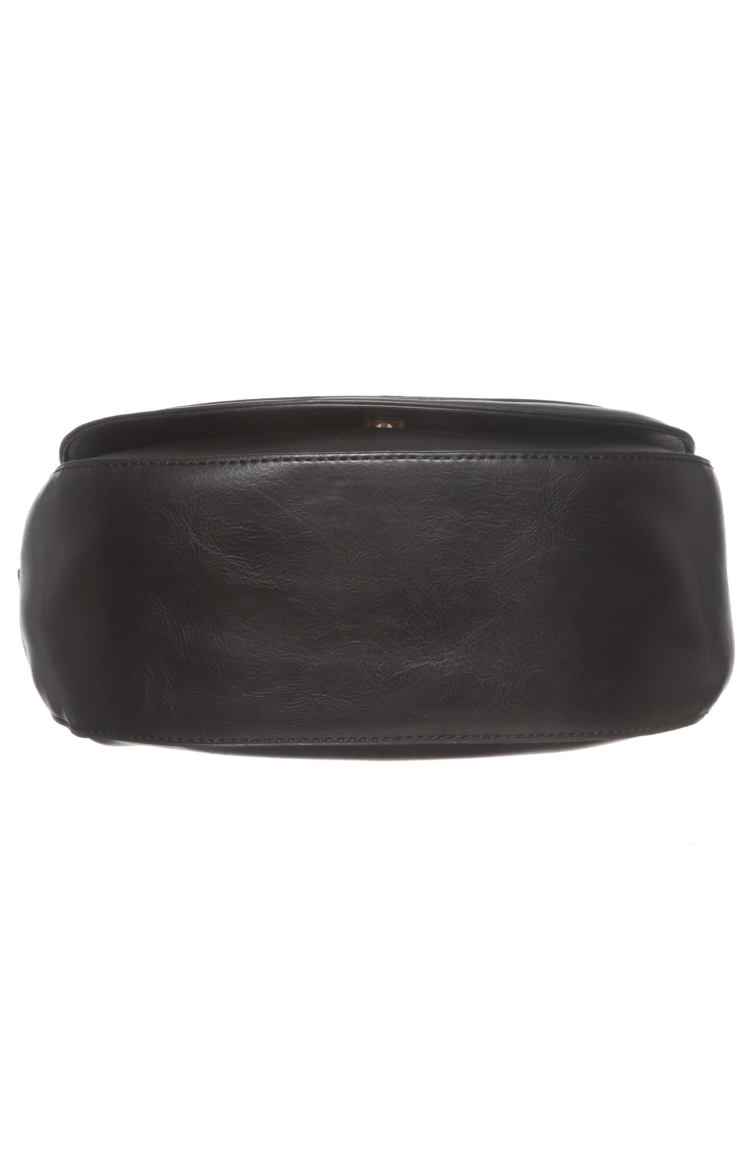 Piri Faux Leather Saddle Bag,                             Alternate thumbnail 6, color,                             001