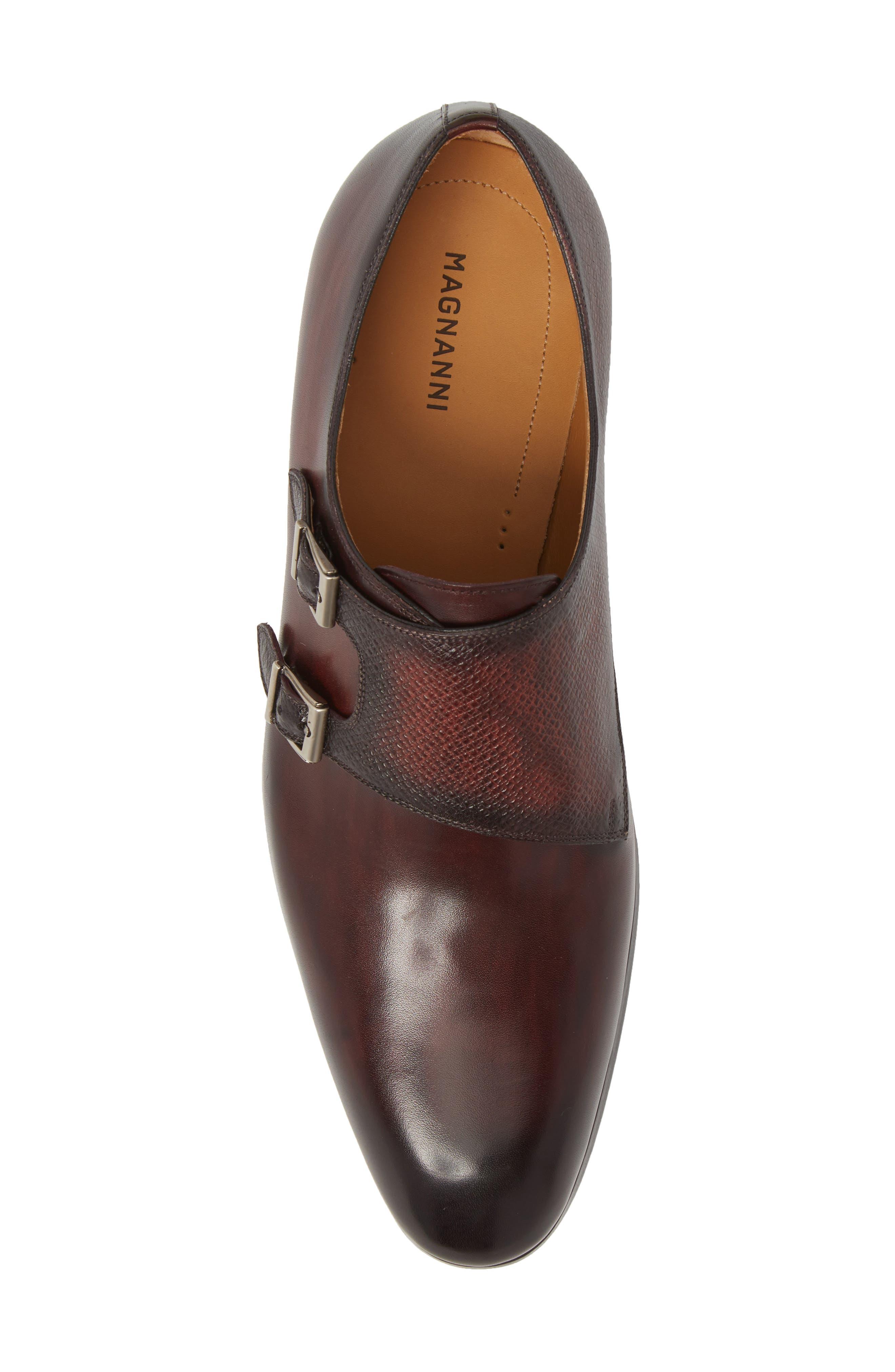 Arlo Pebbled Monk Shoe,                             Alternate thumbnail 5, color,                             BURGUNDY LEATHER