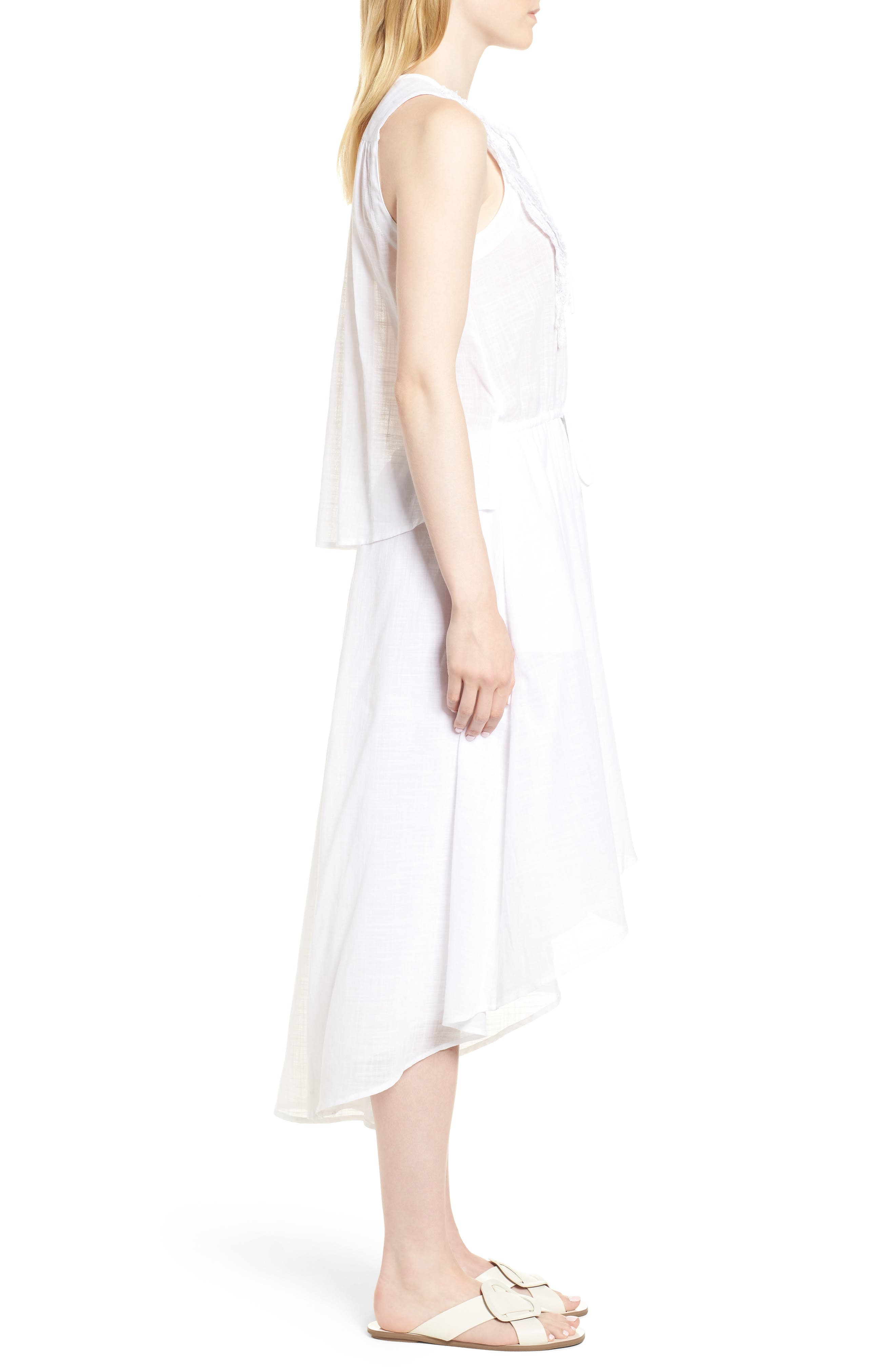 Crochet Trim High/Low Dress,                             Alternate thumbnail 3, color,                             WHITE