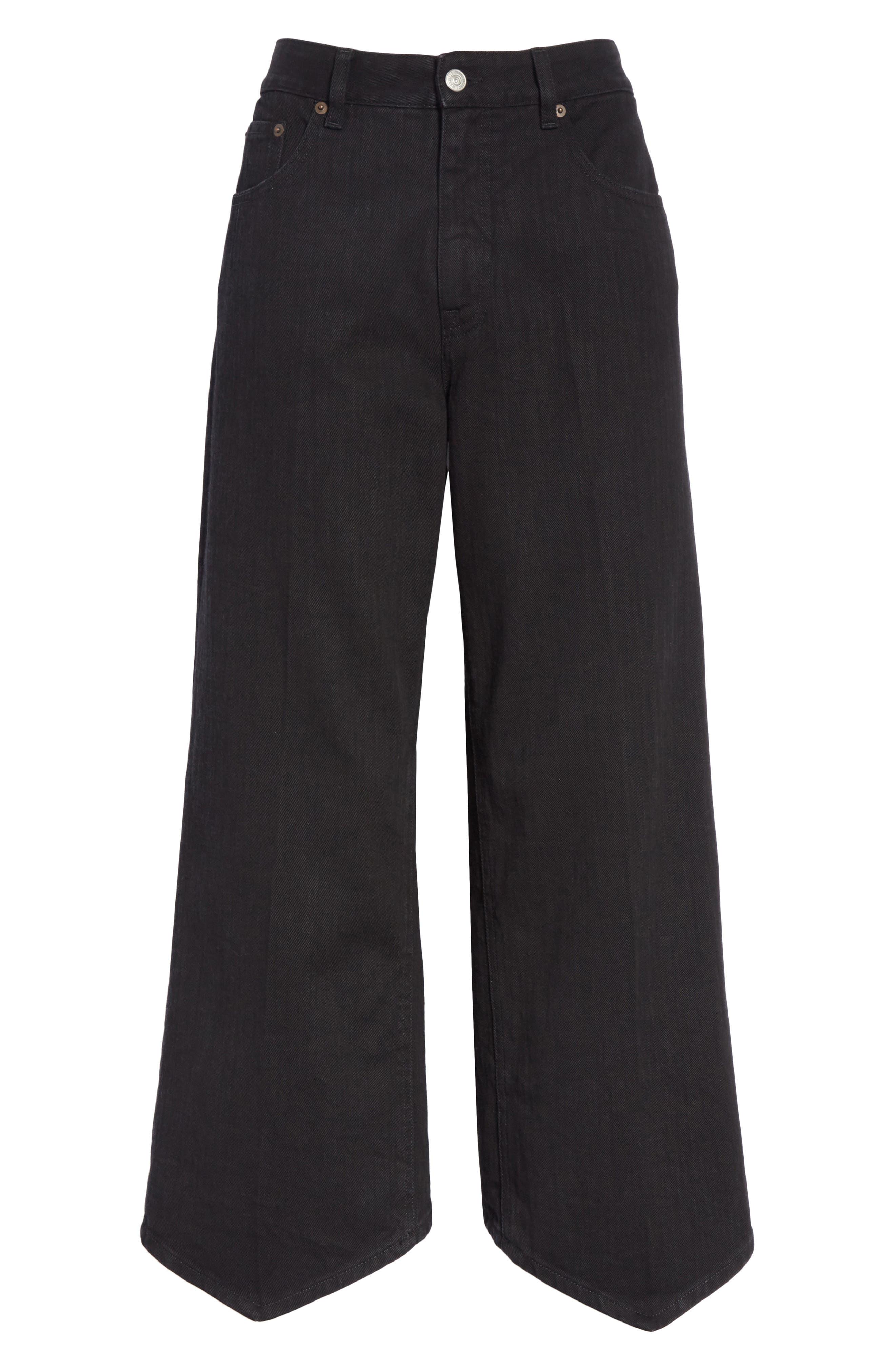 Just Wash Point Hem Wide Leg Jeans,                             Alternate thumbnail 6, color,                             001