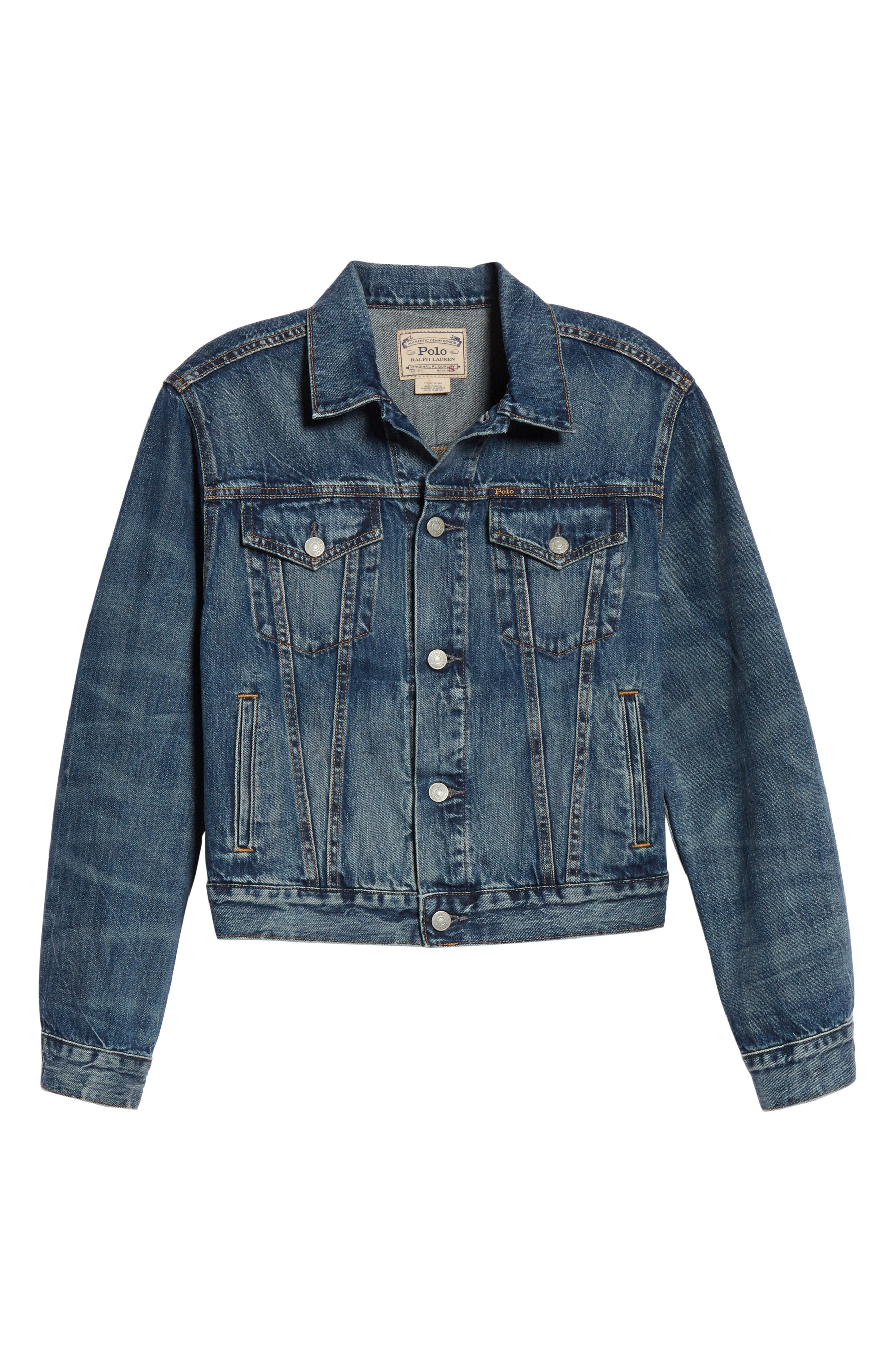 Flag Trucker Denim Jacket,                             Alternate thumbnail 6, color,                             DARK INDIGO