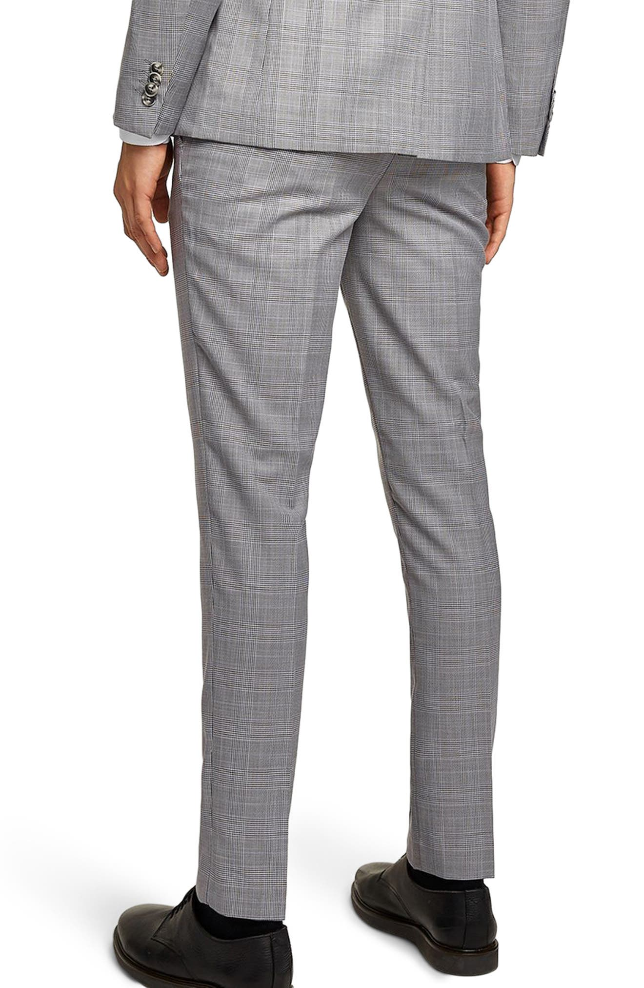 Skinny Fit Check Suit Trousers,                             Alternate thumbnail 2, color,                             020