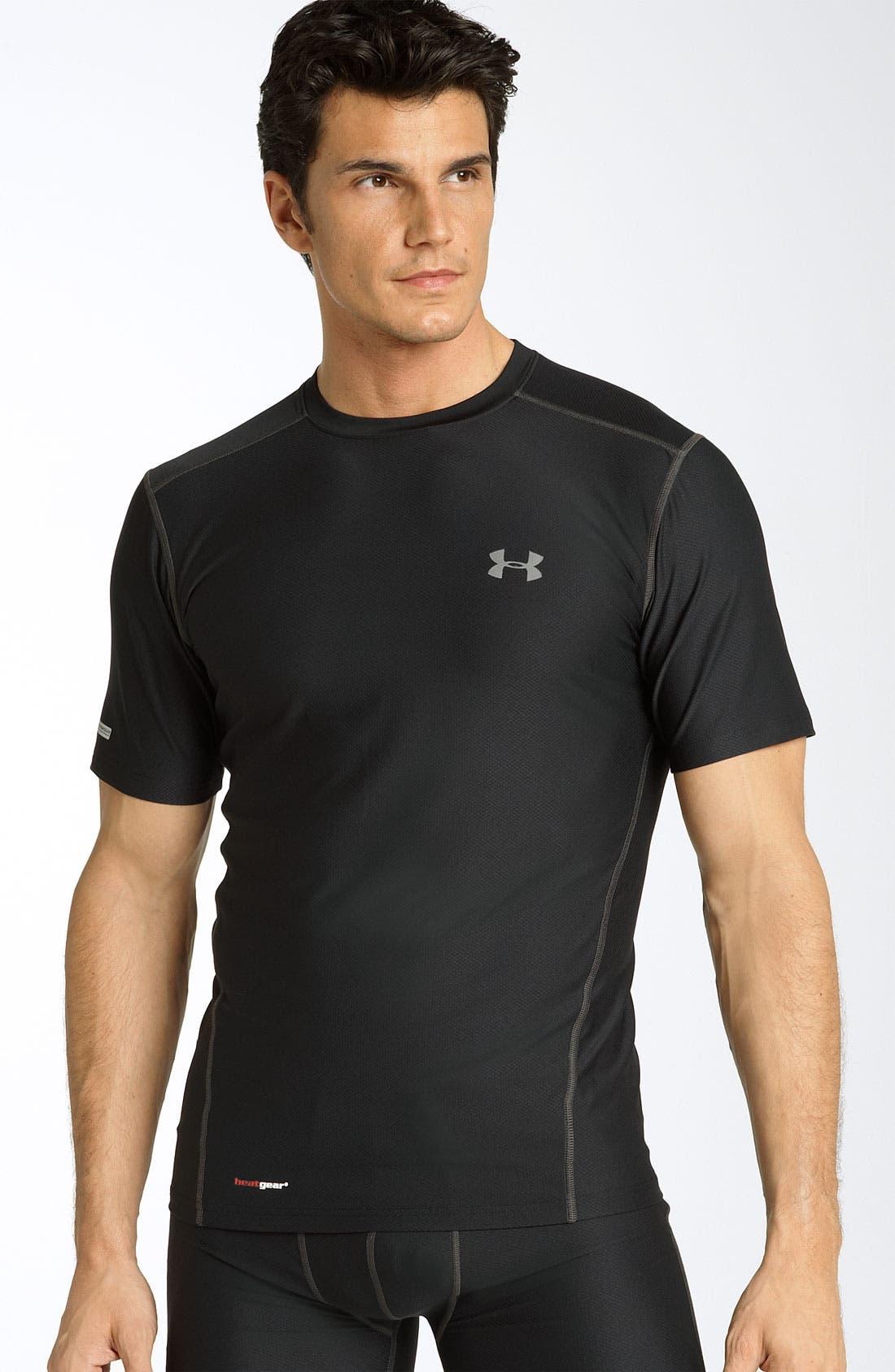 UA Tech<sup>™</sup> HeatGear<sup>®</sup> Fitted T-Shirt,                             Main thumbnail 1, color,                             001