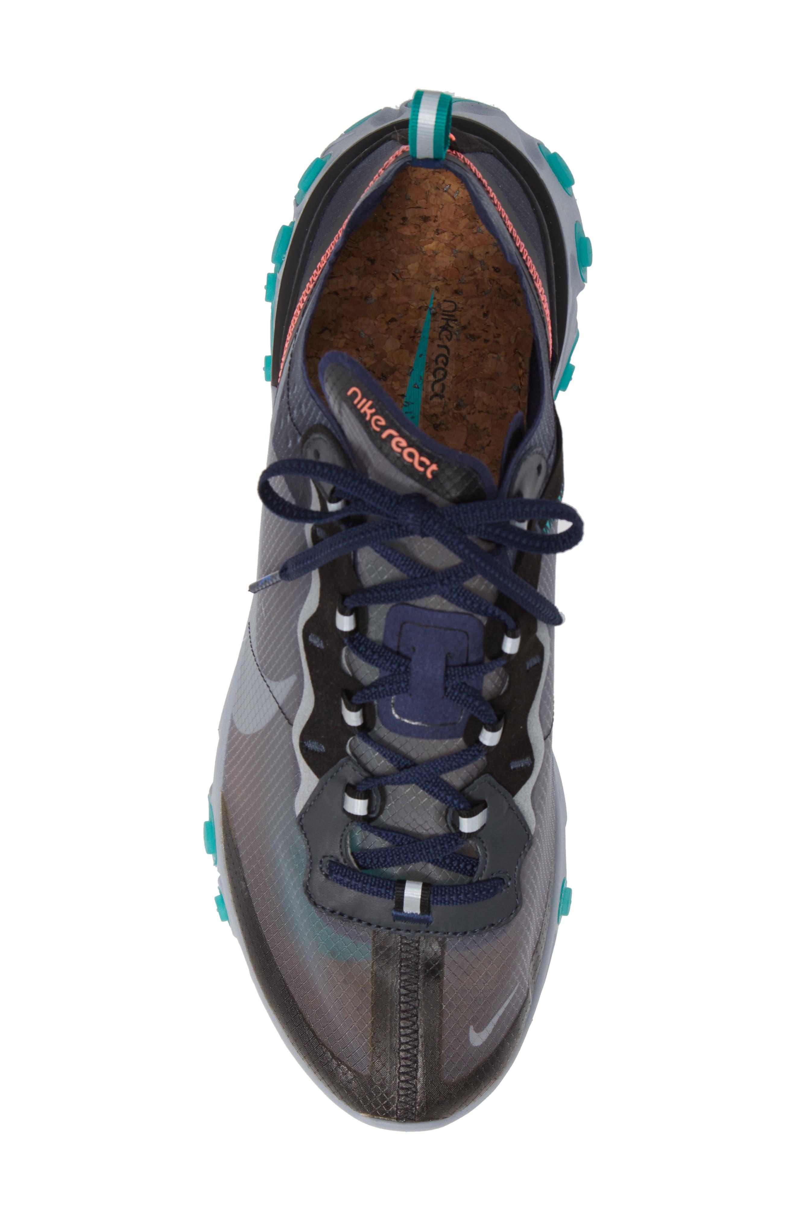 React Element 87 Sneaker,                             Alternate thumbnail 5, color,                             BLACK/ MIDNIGHT NAVY/ GREEN