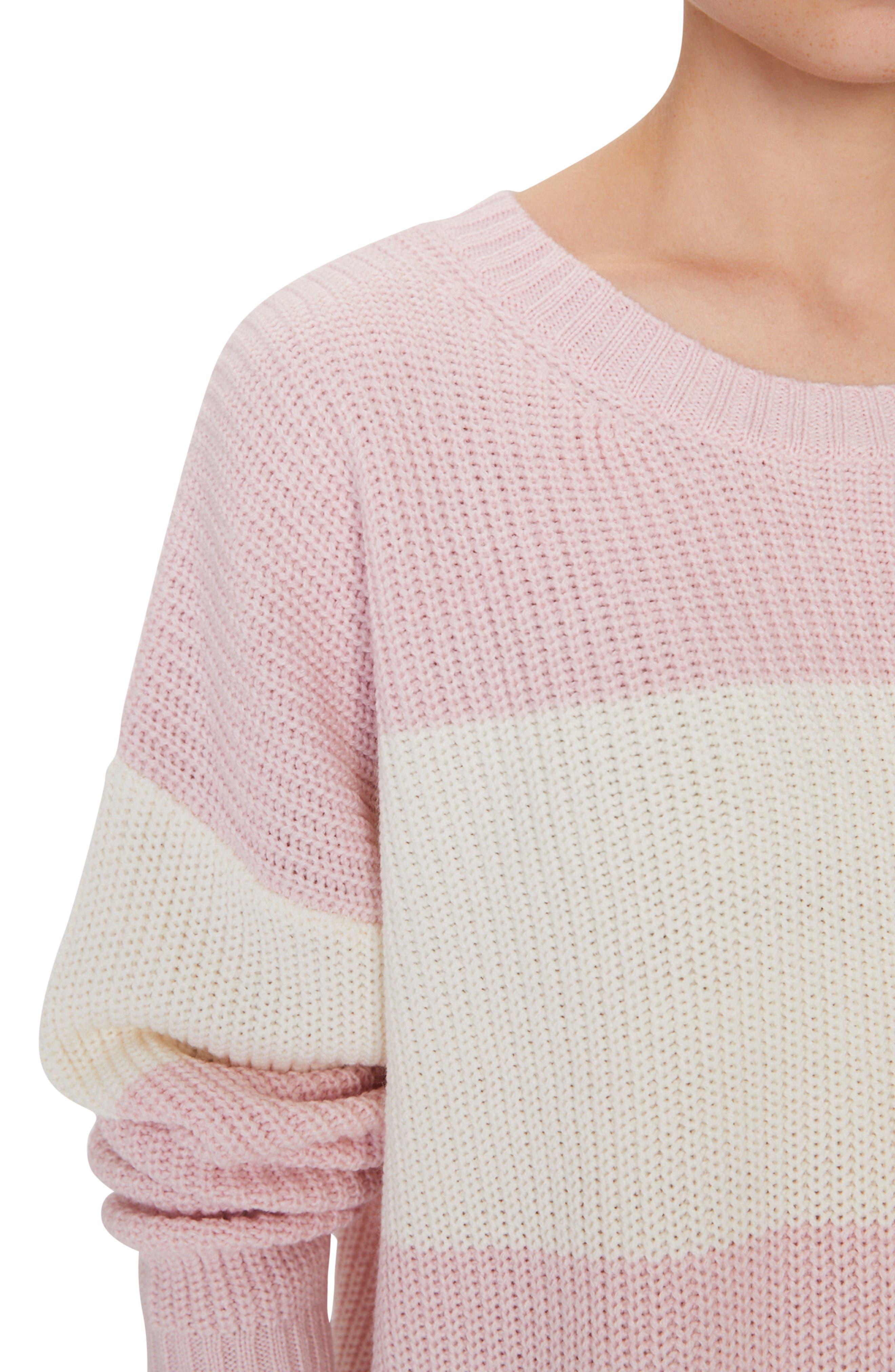 SANCTUARY,                             Billie Colorblock Shaker Sweater,                             Alternate thumbnail 4, color,                             HEATHER CHERRYBLOSSOM/ NATURAL