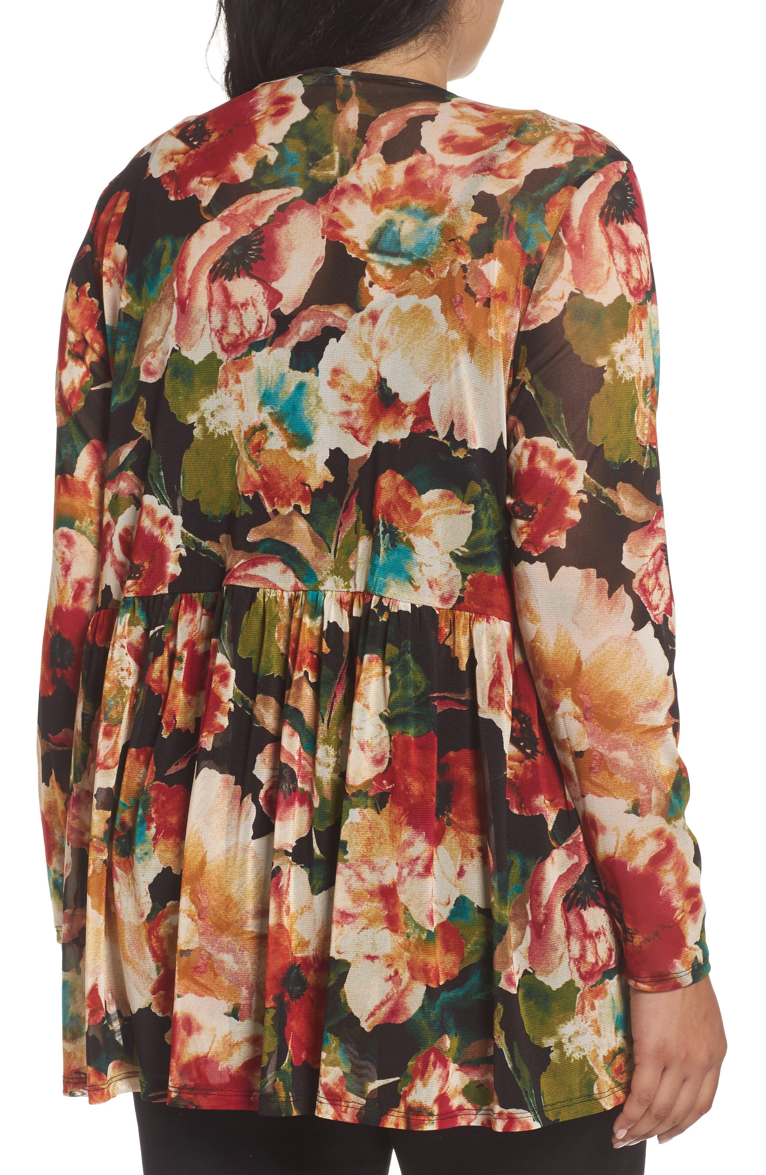 Floral Print Mesh Peplum Tunic,                             Alternate thumbnail 2, color,                             610