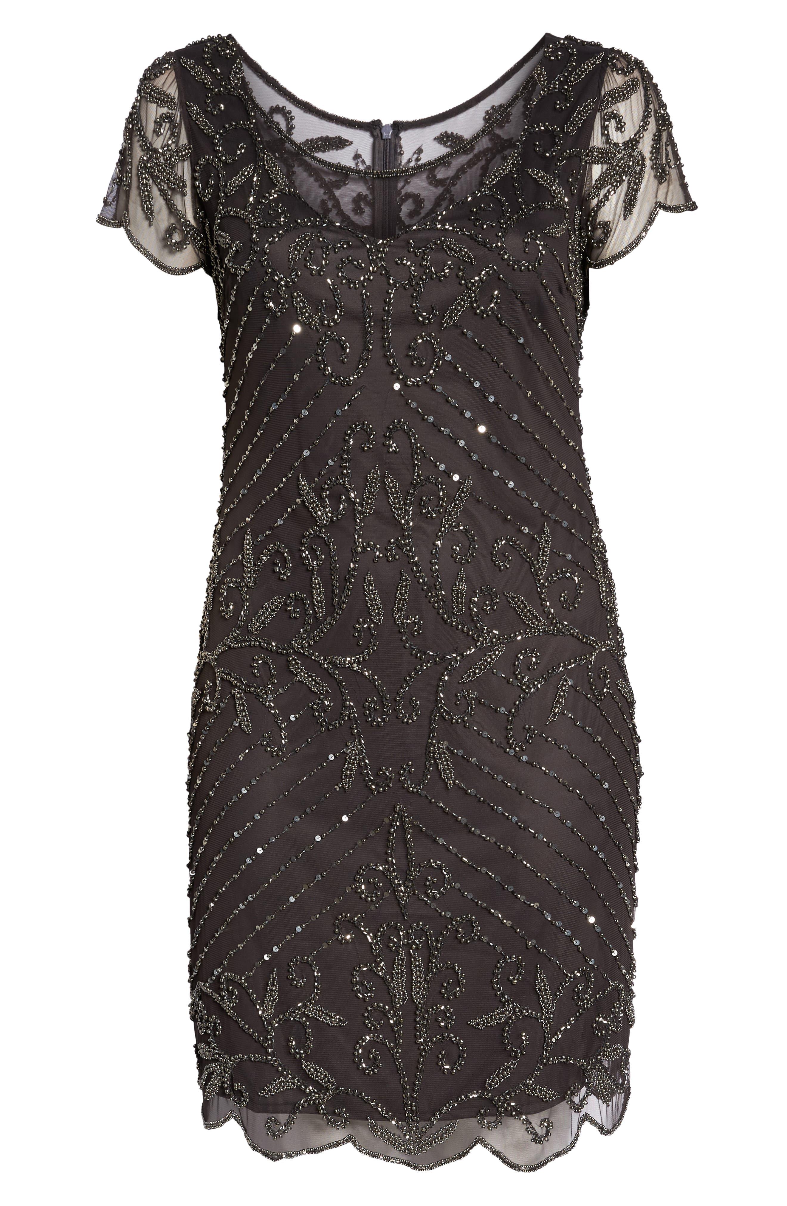 Beaded Illusion Yoke Sheath Dress,                             Alternate thumbnail 7, color,                             GRAY/ SILVER