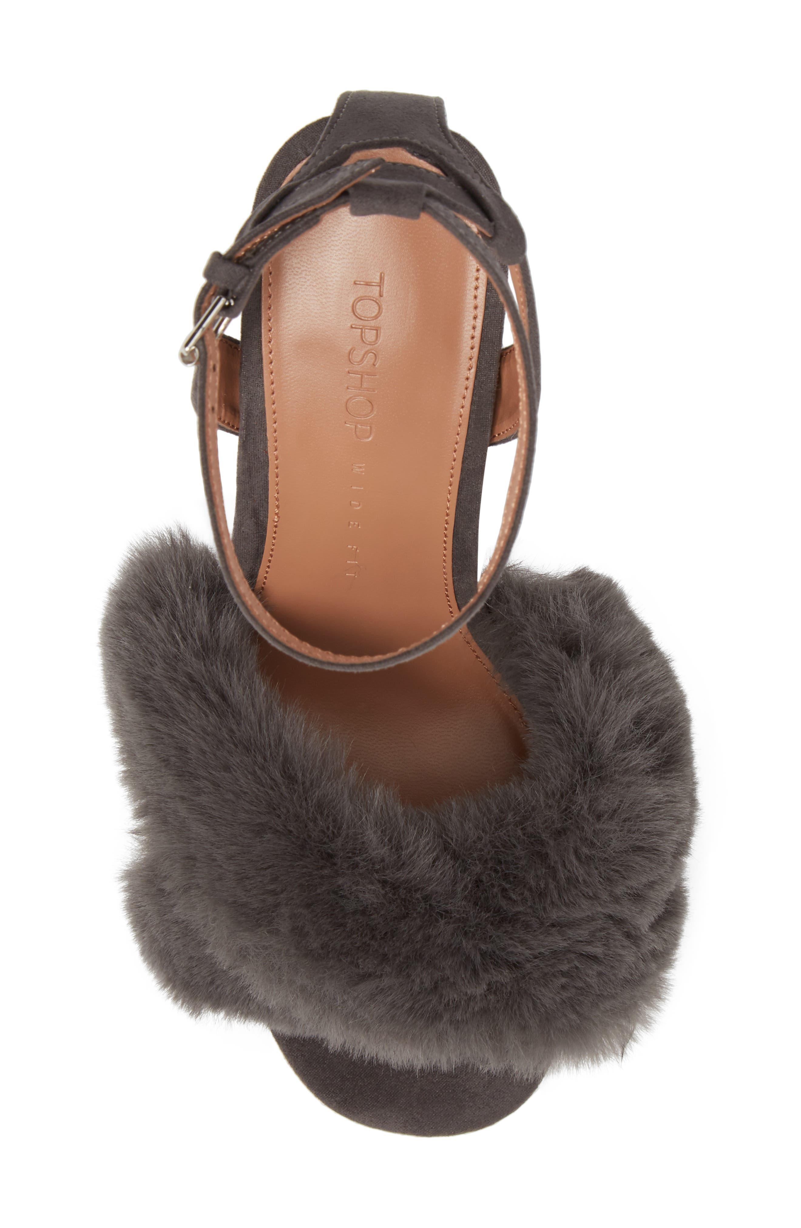 Sassy Faux Fur Sandal,                             Alternate thumbnail 14, color,