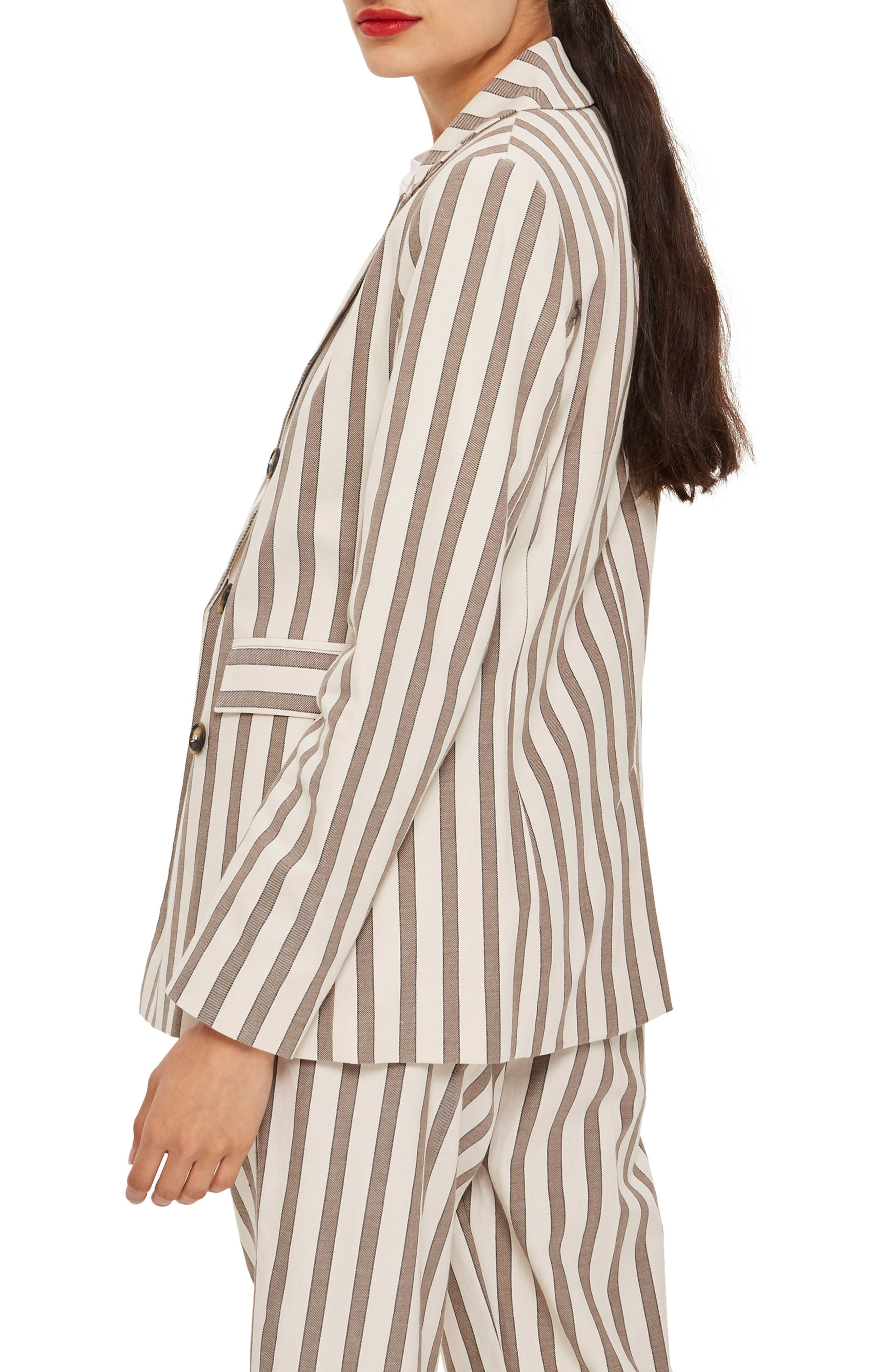 Taupe Stripe Double Breasted Blazer,                             Alternate thumbnail 2, color,                             900