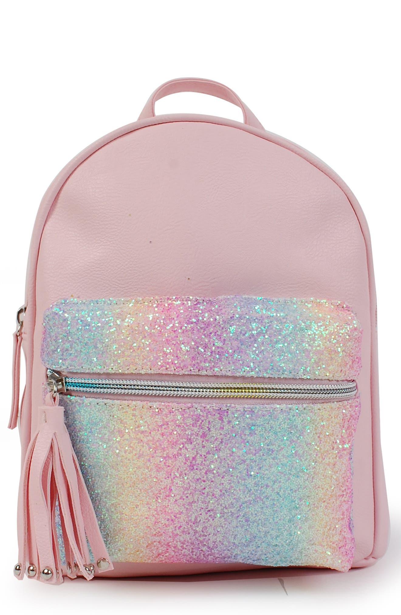 Rainbow Glitter Mini Backpack,                             Main thumbnail 1, color,                             PINK