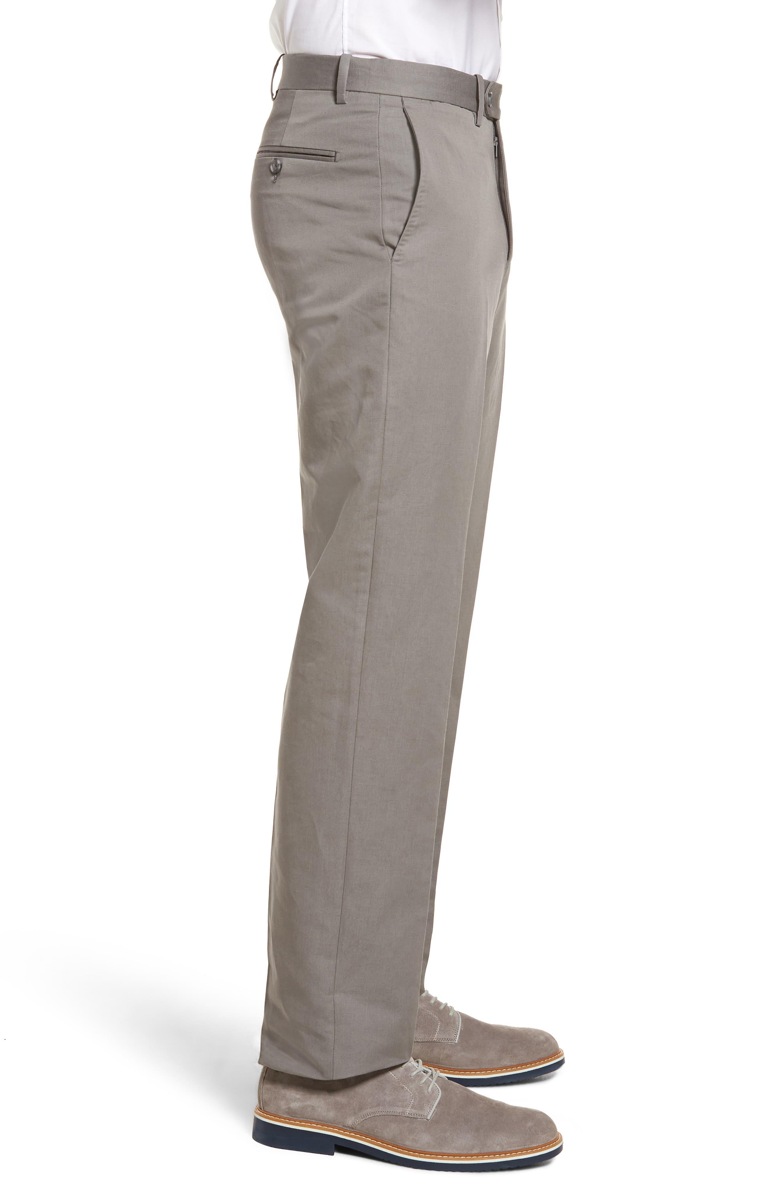 Flat Front Solid Cotton & Linen Trousers,                             Alternate thumbnail 4, color,                             030
