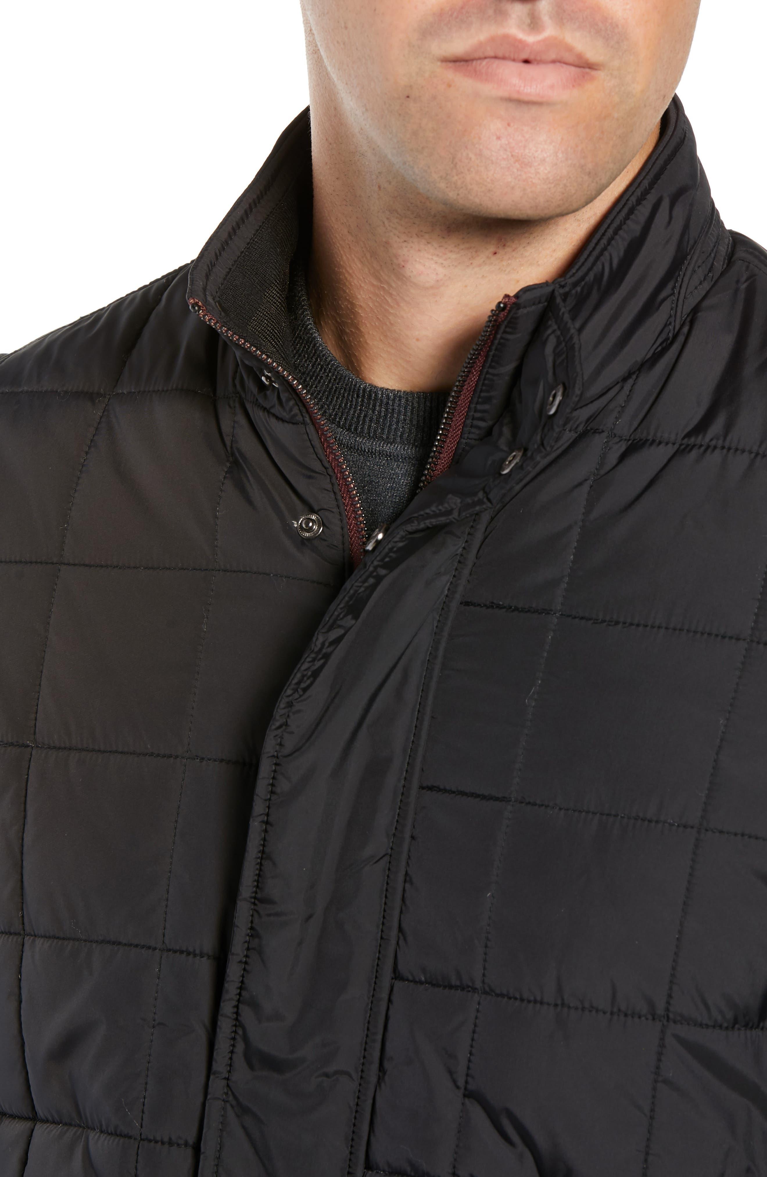 Lesta Quilted Slim Fit Jacket,                             Alternate thumbnail 4, color,                             BLACK