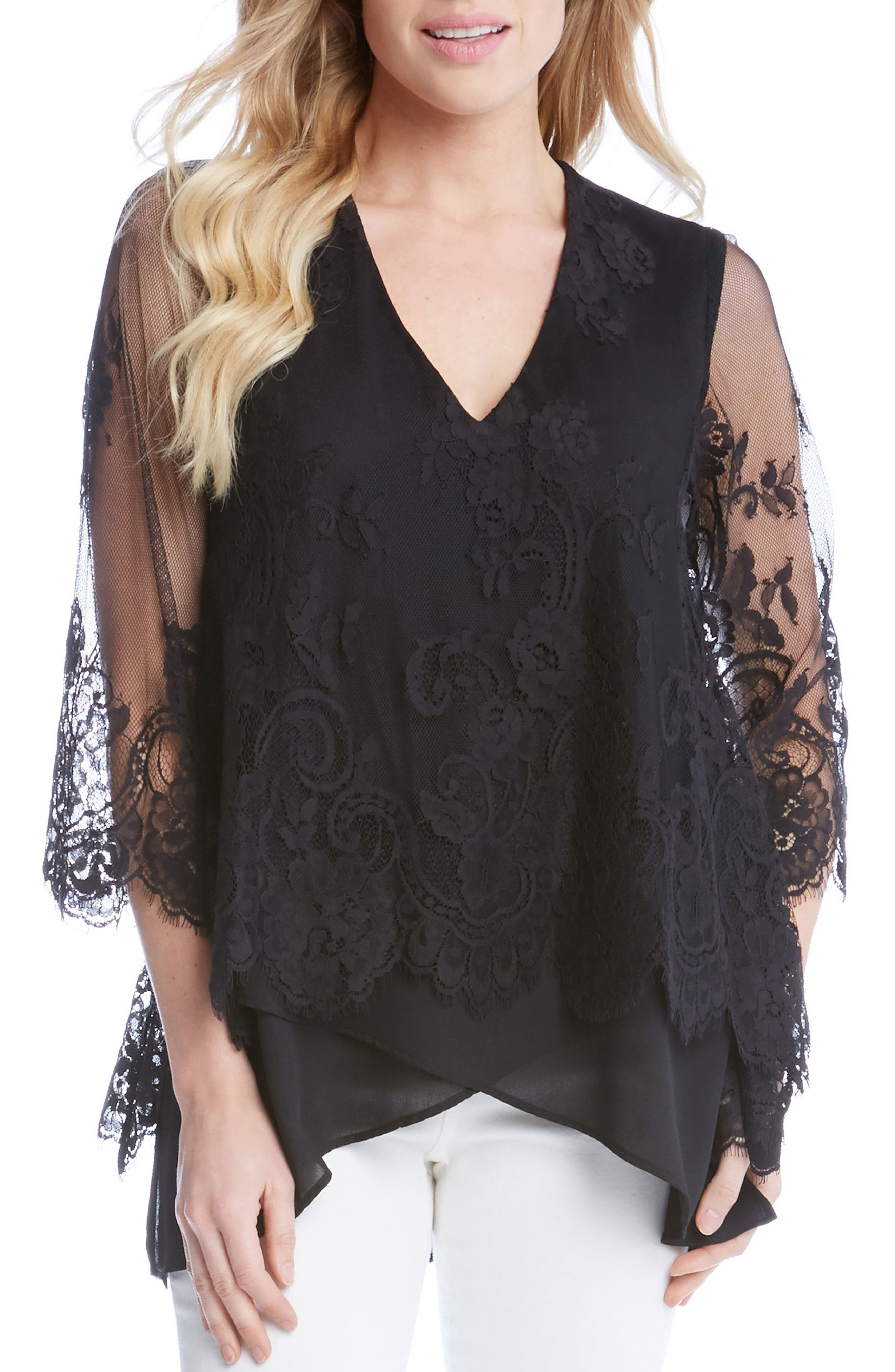 Lace Overlay Asymmetrical Top,                         Main,                         color, 001