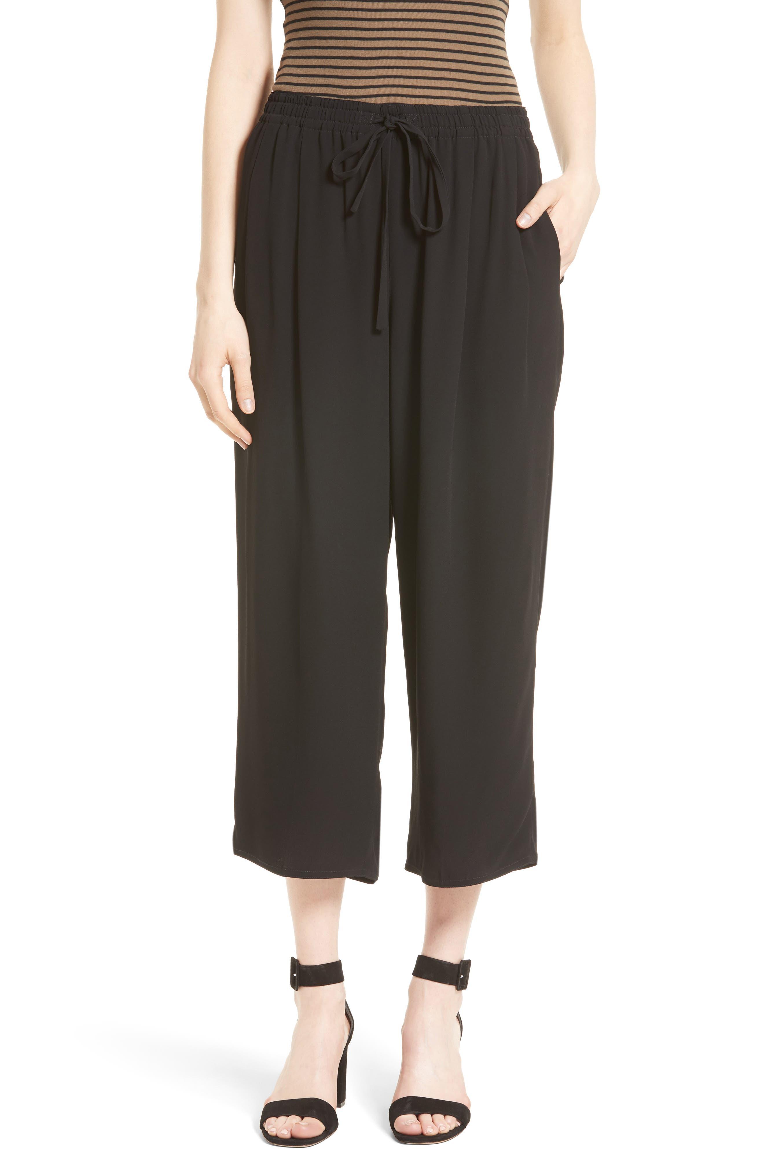 Drawstring Waist Crop Pants,                         Main,                         color, 001