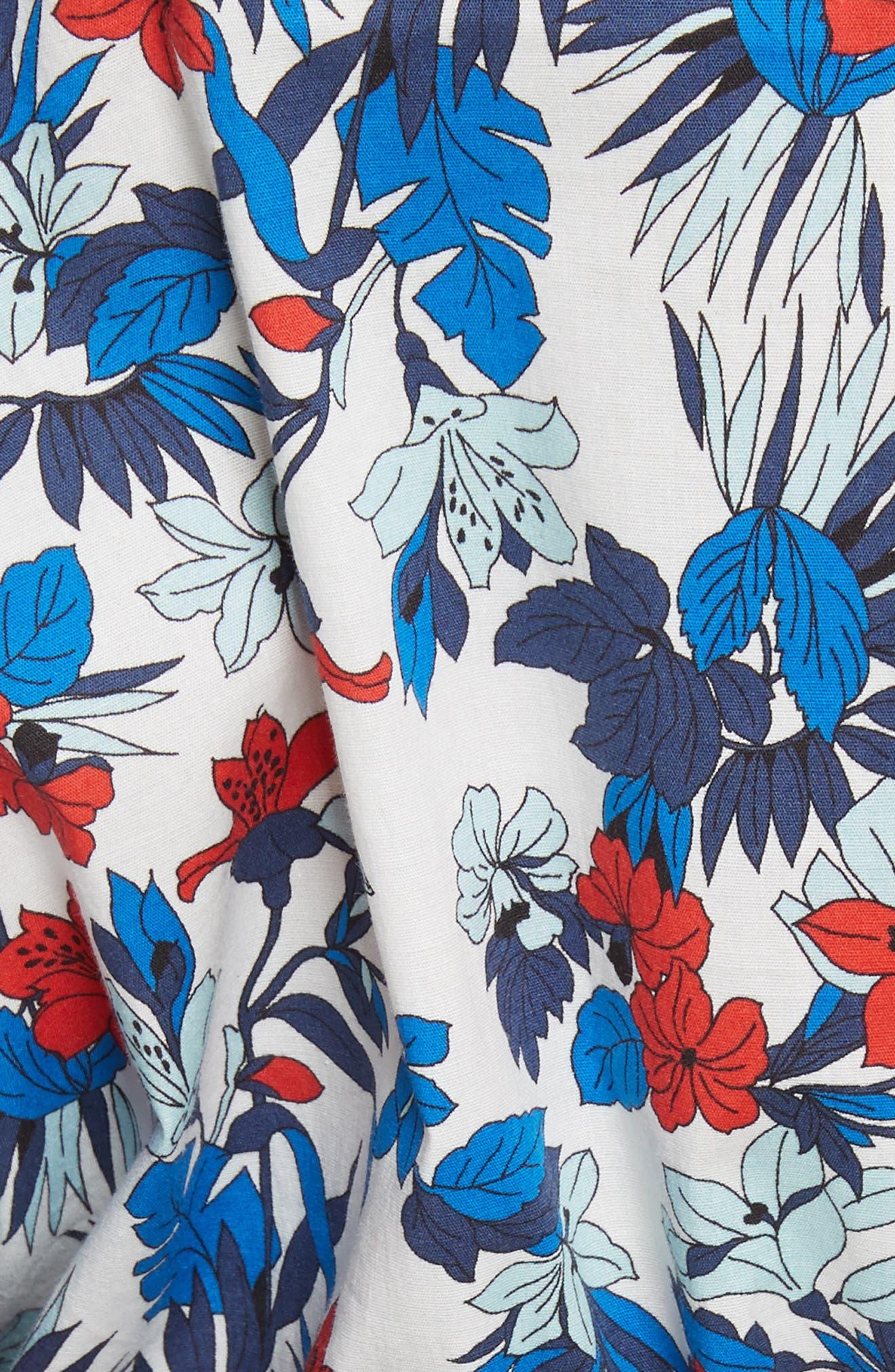 Hibiscus Print Stretch Cotton Top,                             Alternate thumbnail 5, color,                             433