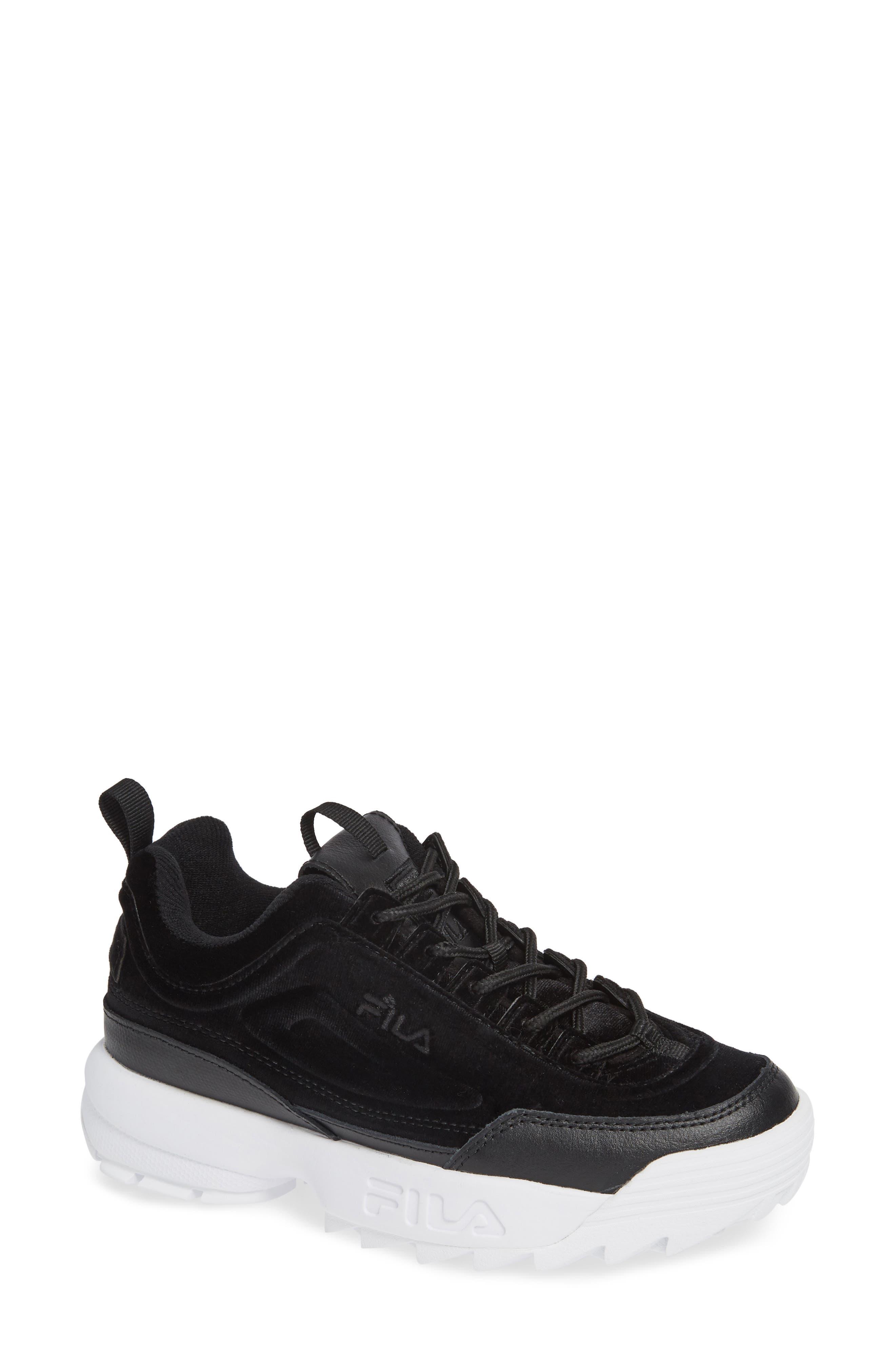 Women'S Disruptor Ii Premium Low-Top Dad Sneakers in Black/ Black/ White