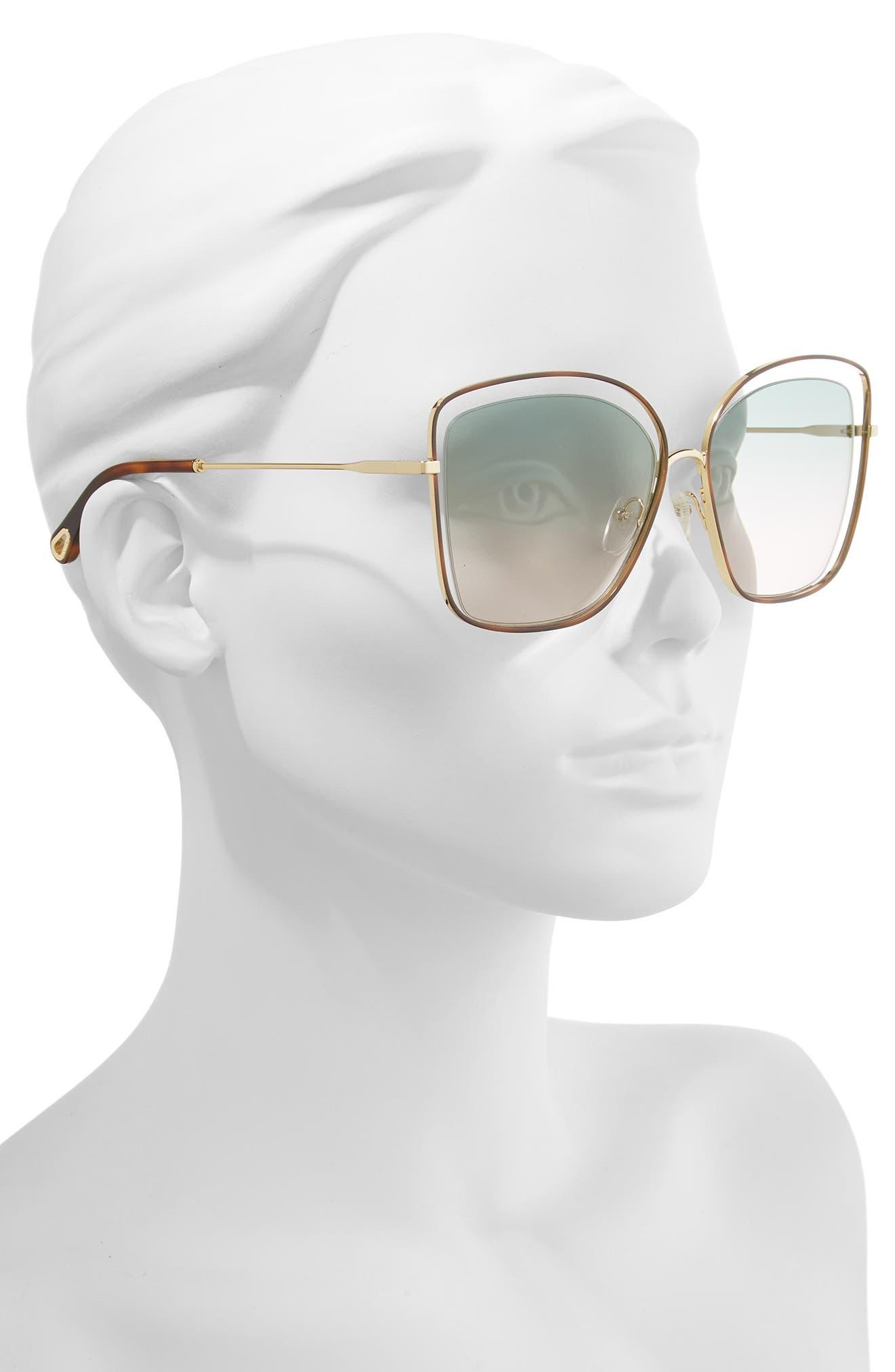 60mm Halo Frame Sunglasses,                             Alternate thumbnail 2, color,                             HAVANA/ GREEN ROSE