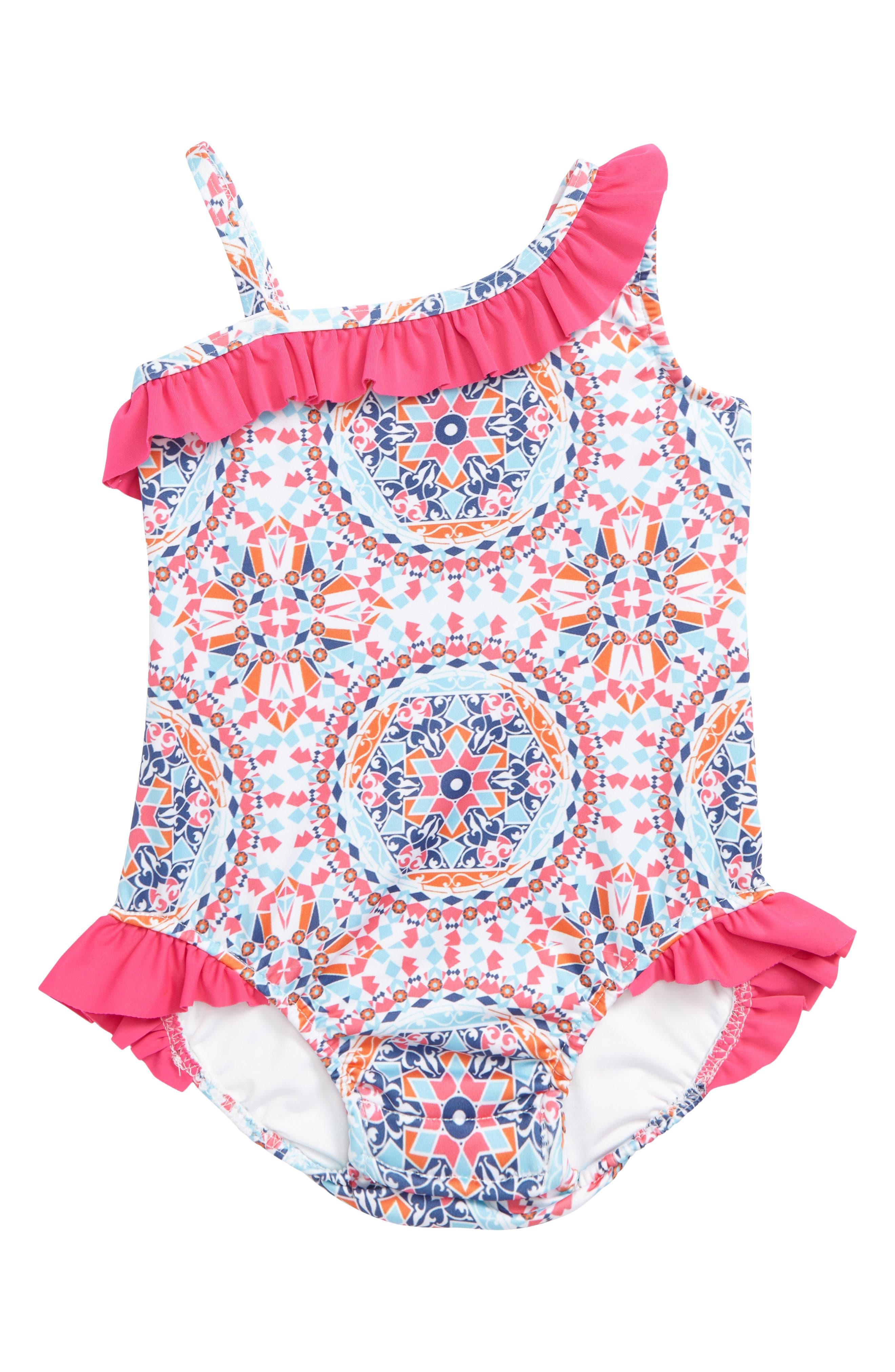 Asymmetrical Ruffle One-Piece Swimsuit,                             Main thumbnail 2, color,