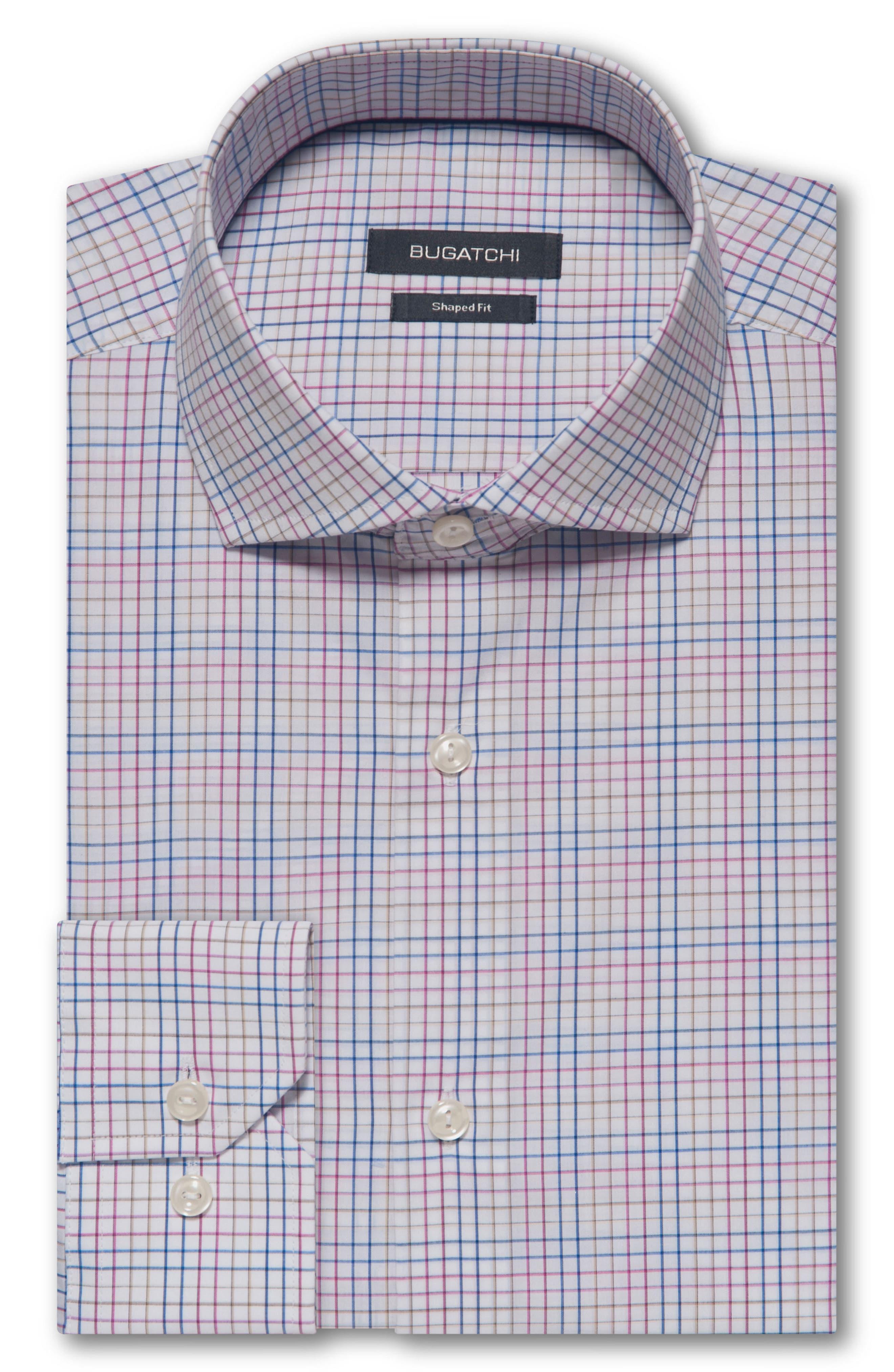 Trim Fit Plaid Dress Shirt,                         Main,                         color, CANDY