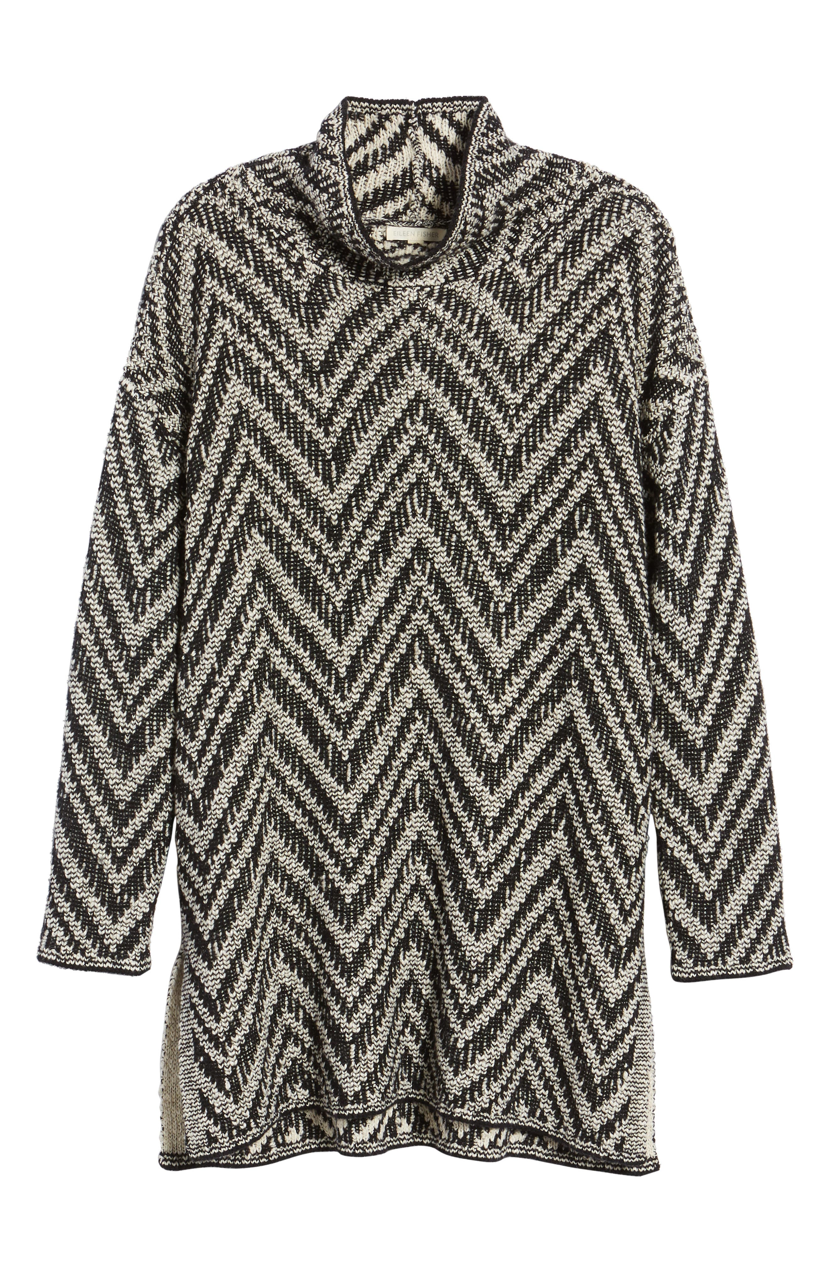 Zigzag Organic Cotton & Alpaca Tunic Sweater,                             Alternate thumbnail 6, color,                             112