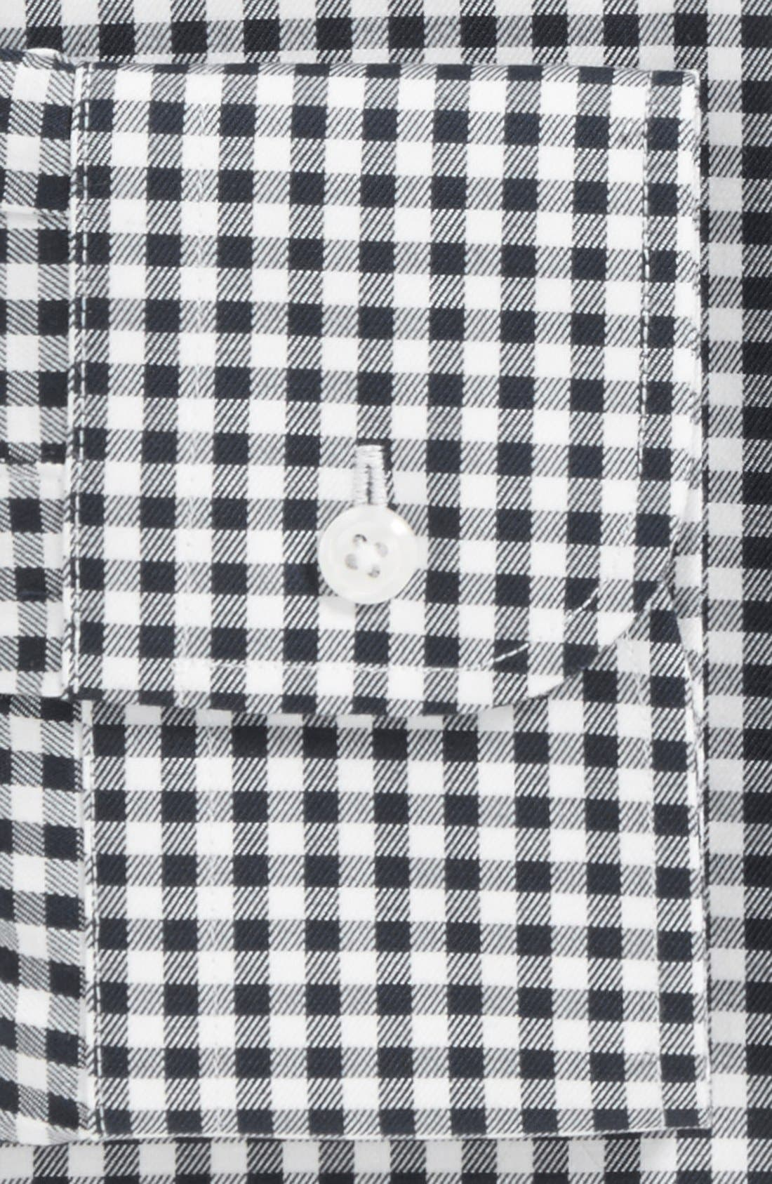 Classic Fit Non-Iron Gingham Dress Shirt,                             Alternate thumbnail 4, color,                             BLACK ROCK