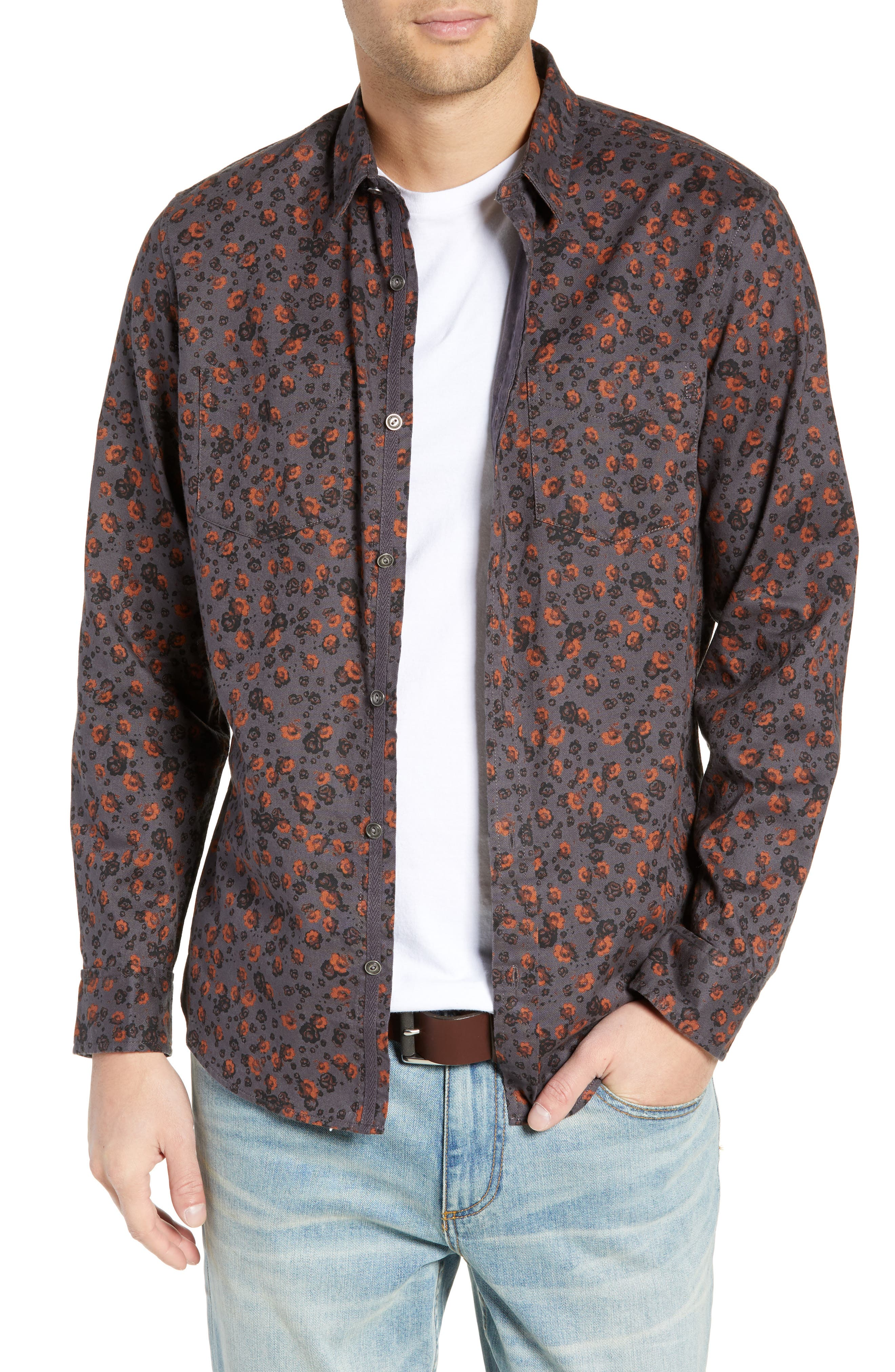 Floral Flannel Sport Shirt,                             Main thumbnail 1, color,                             GREY METEOR FOLK FLORAL