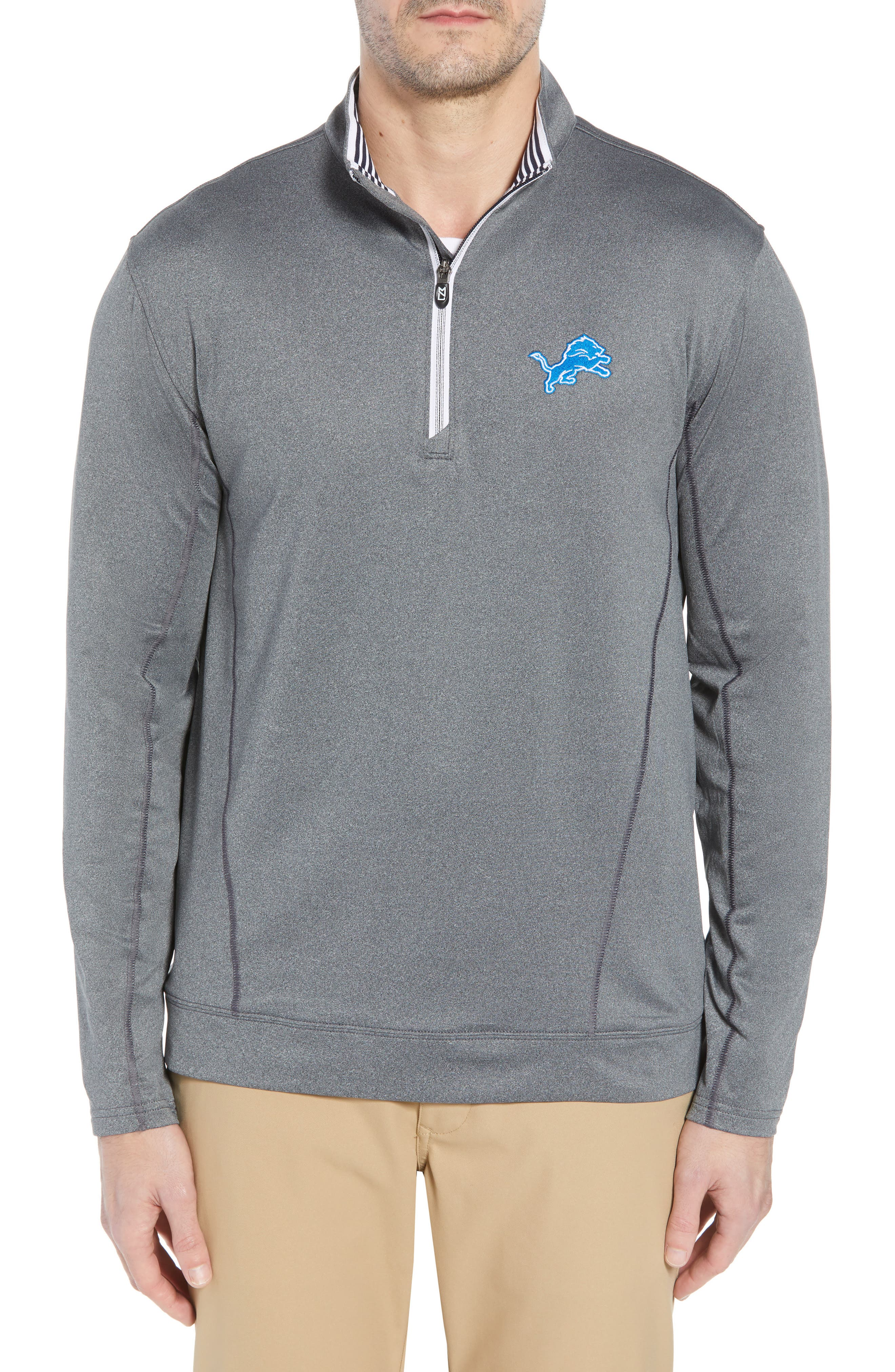 Endurance Detroit Lions Regular Fit Pullover,                             Main thumbnail 1, color,                             CHARCOAL HEATHER