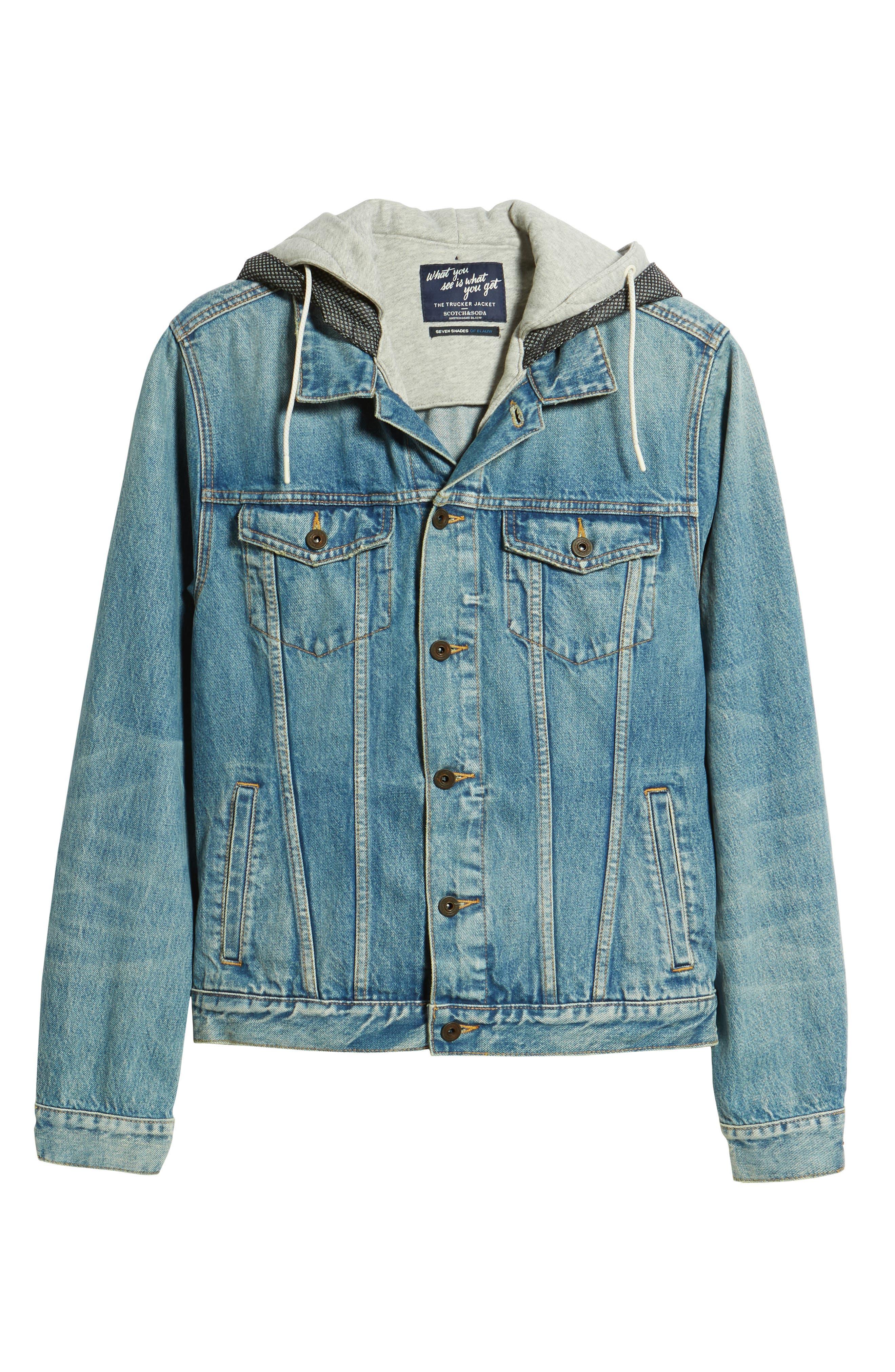 Amsterdam Blauw Hooded Trucker Jacket,                             Alternate thumbnail 6, color,                             410