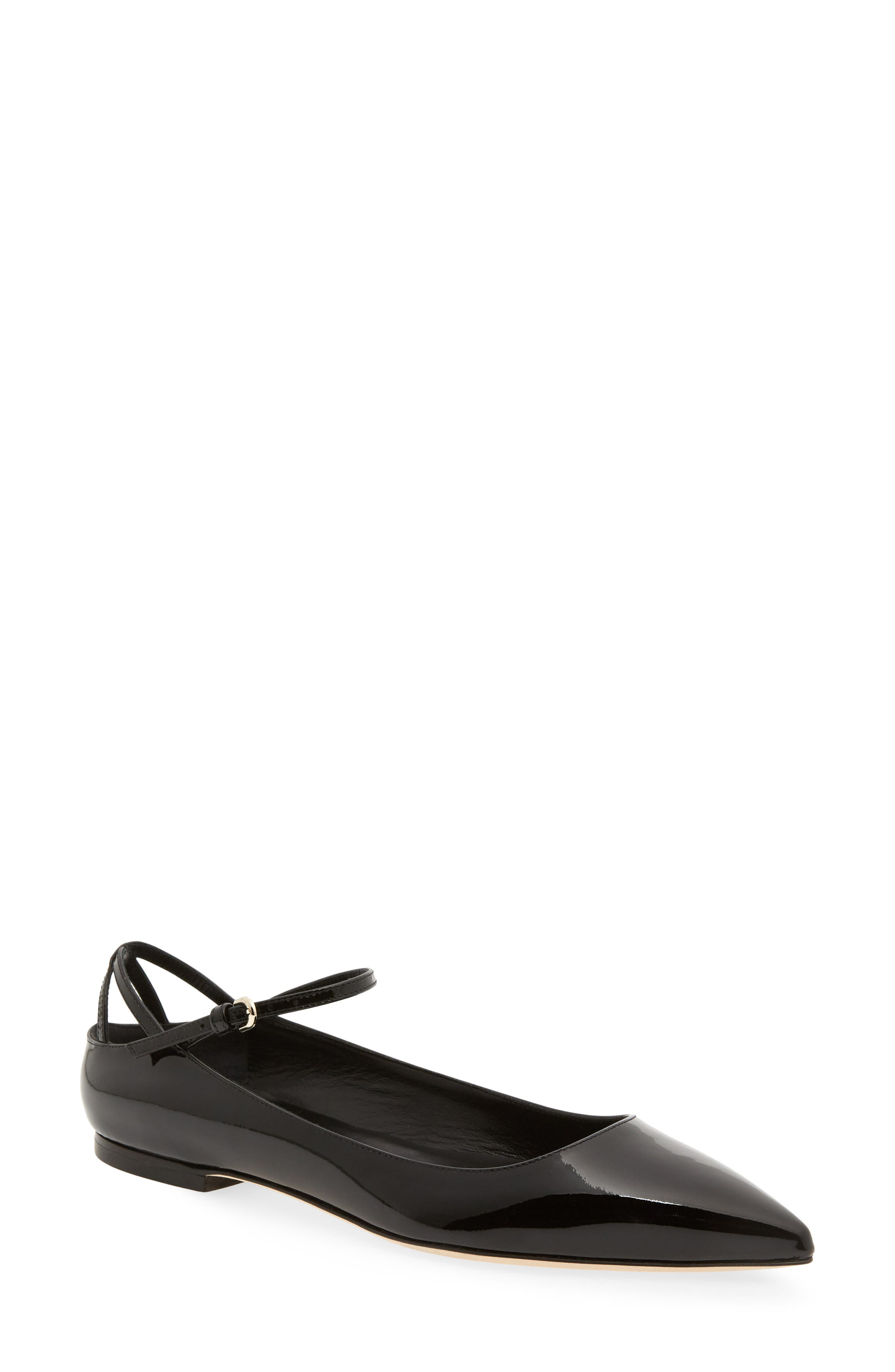 Astrid Ankle Strap Flat,                         Main,                         color, BLACK PATENT