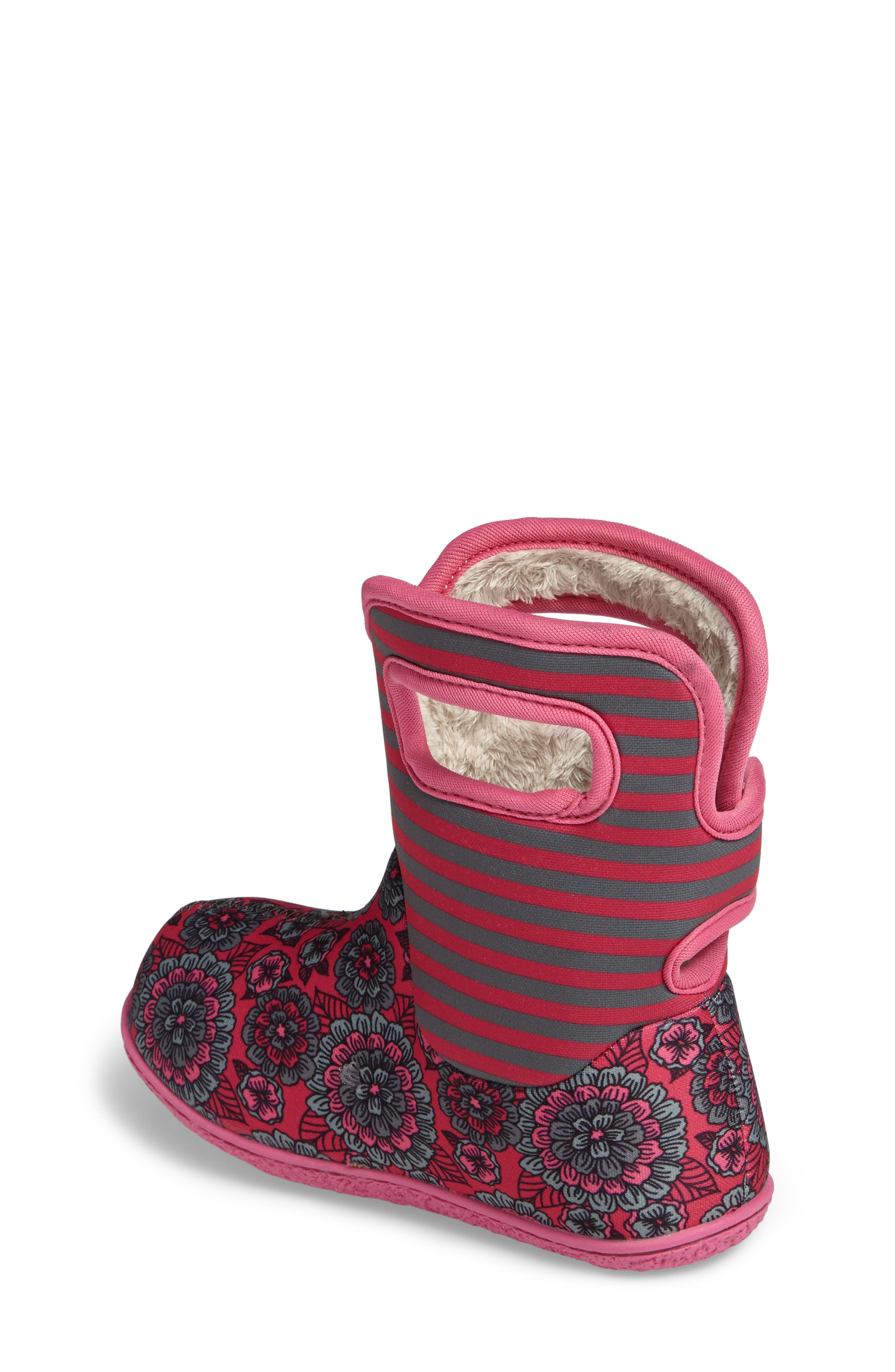 BOGS,                             Baby Bogs Pansy Stripe Insulated Waterproof Boot,                             Alternate thumbnail 2, color,                             650