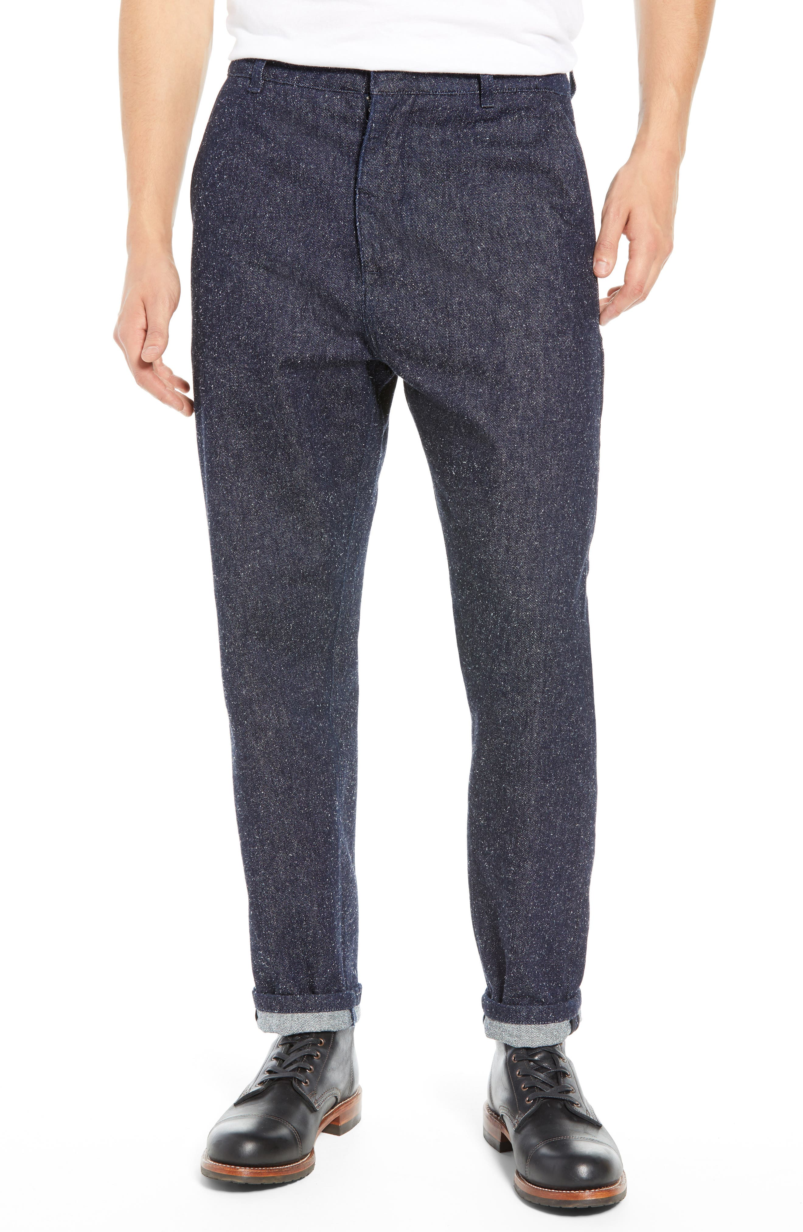 Tapered Straight Leg Cotton & Silk Trousers,                             Main thumbnail 1, color,                             NEPPY DENIM