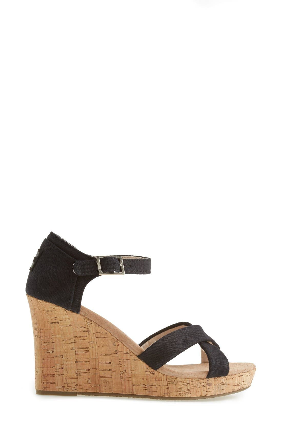 Canvas Ankle Strap Wedge Sandal,                             Alternate thumbnail 3, color,                             001