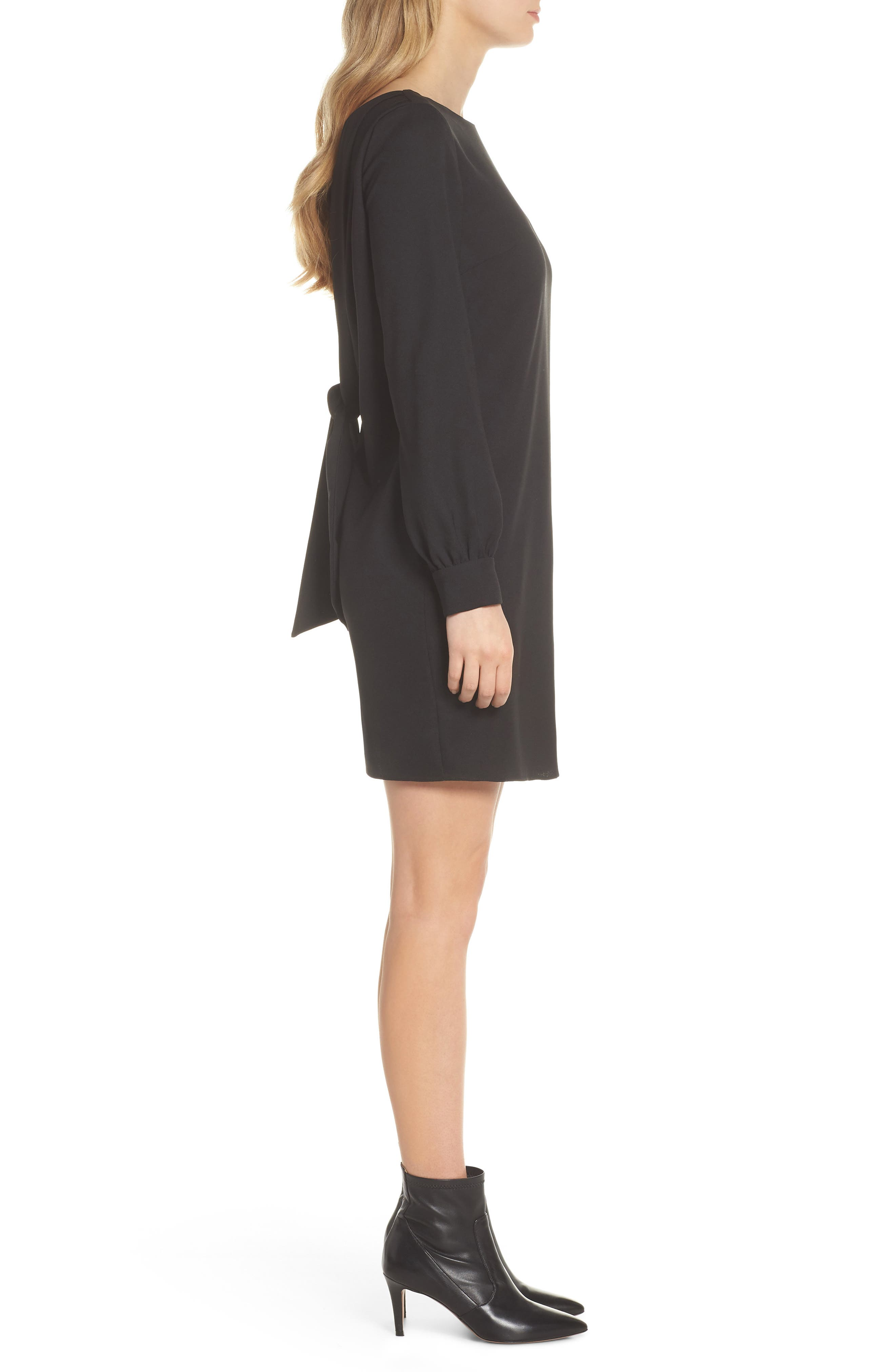 V-Back Shift Dress,                             Alternate thumbnail 4, color,                             001