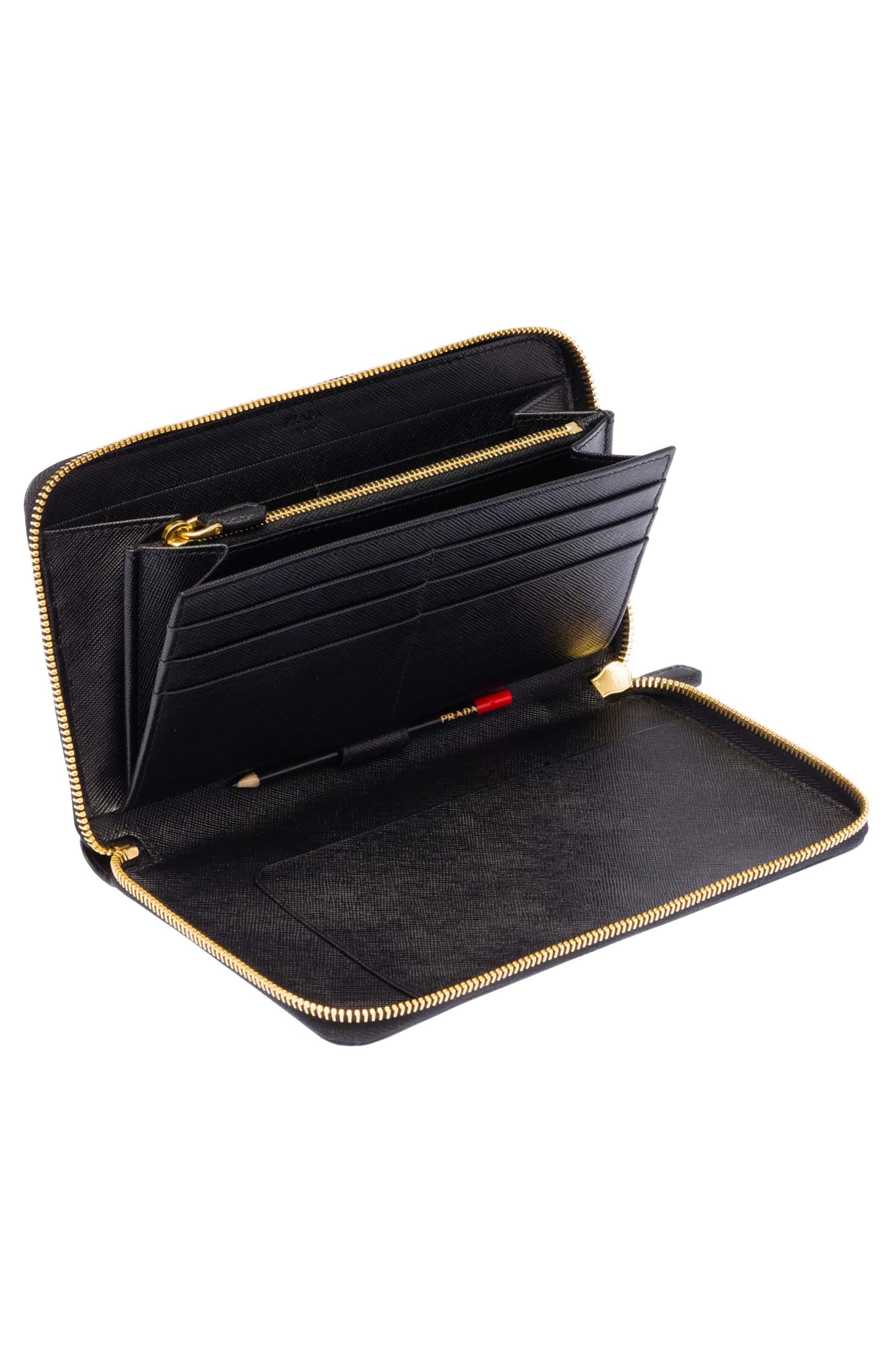 Oro Saffiano Leather Zip Around Wallet,                             Alternate thumbnail 2, color,                             001