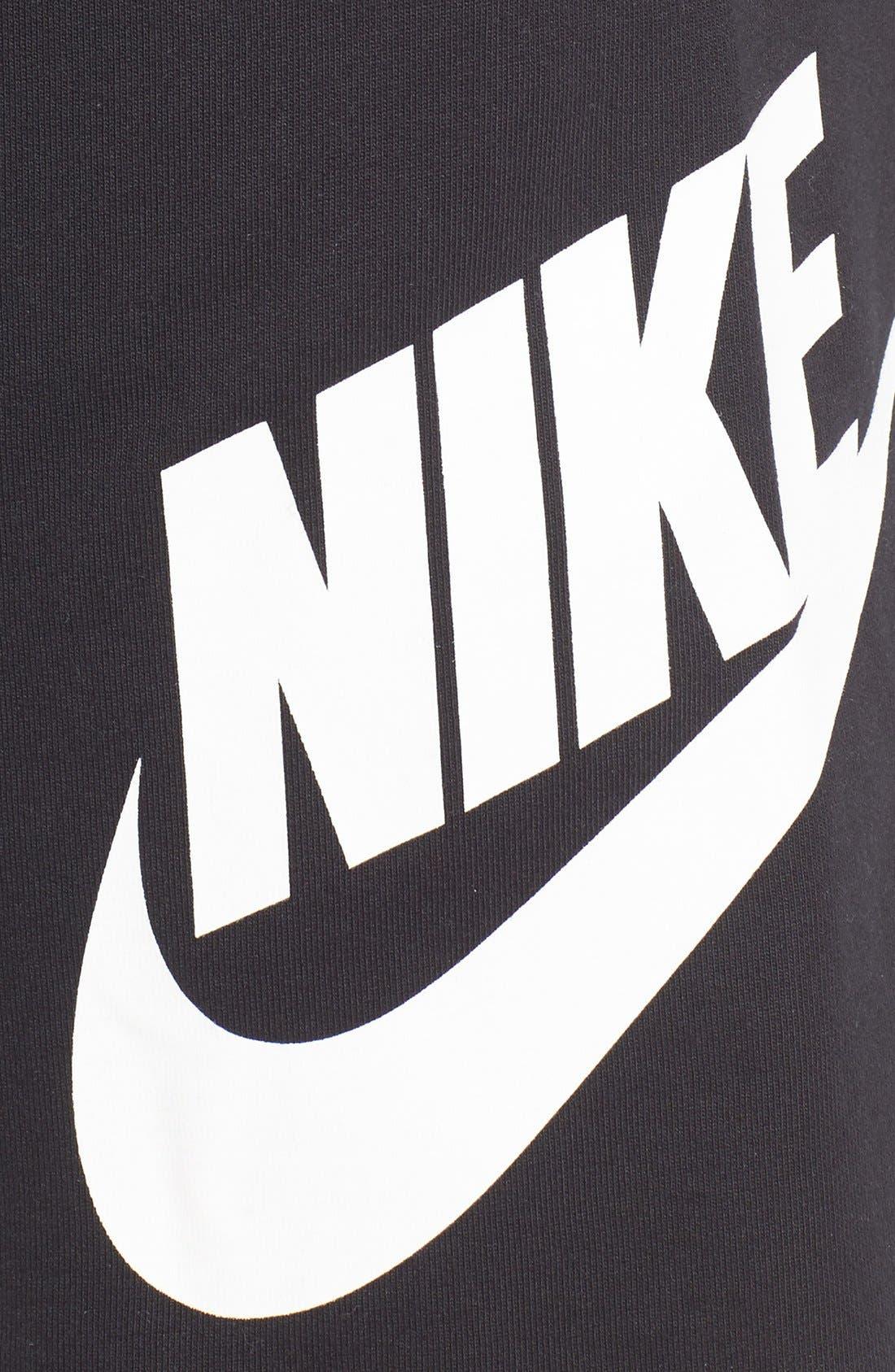 'NSW' Logo French Terry Shorts,                             Alternate thumbnail 5, color,                             BLACK/ WHITE