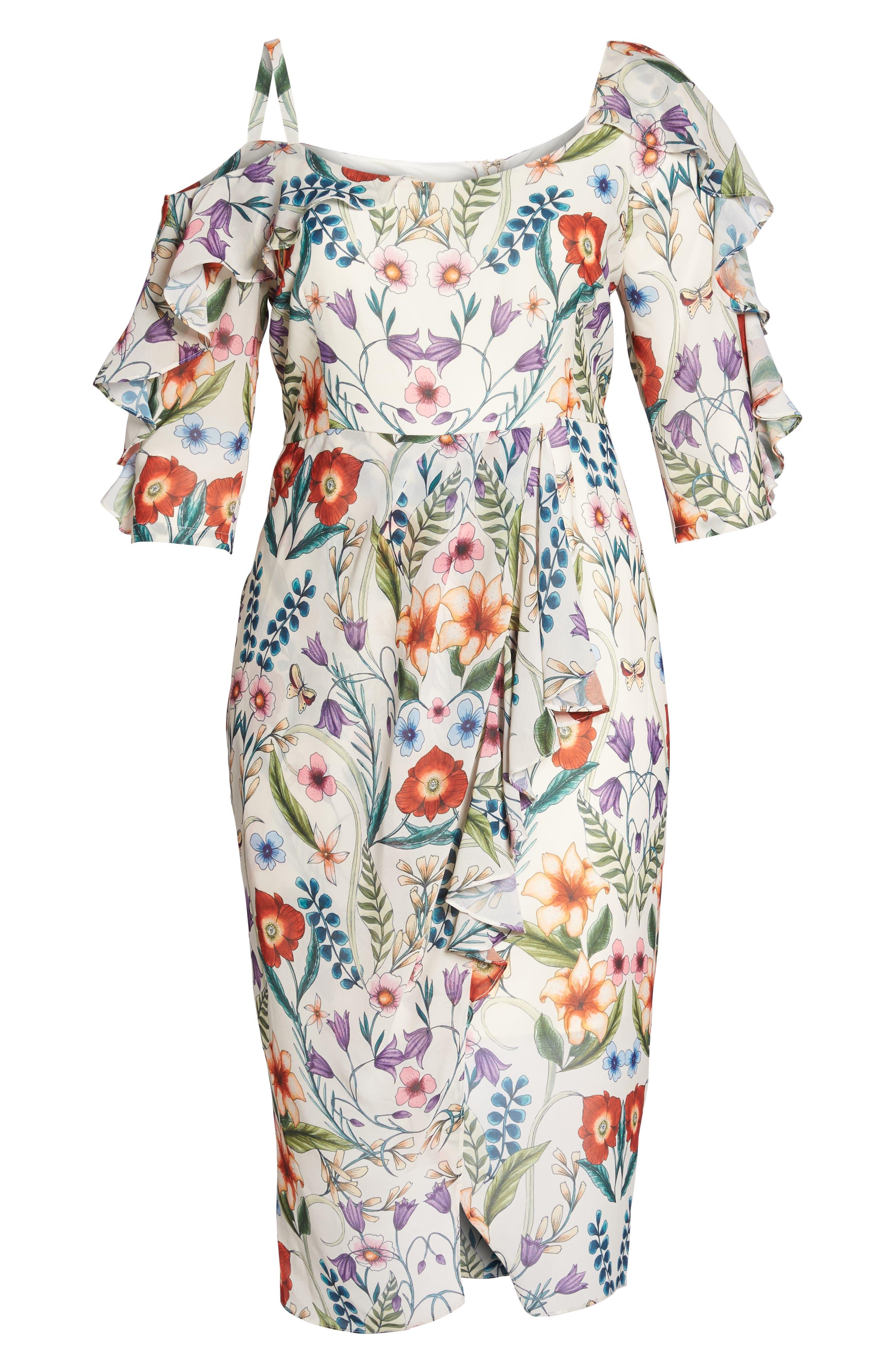 Gardenia Vintage Asymmetrical Dress,                             Alternate thumbnail 6, color,                             100
