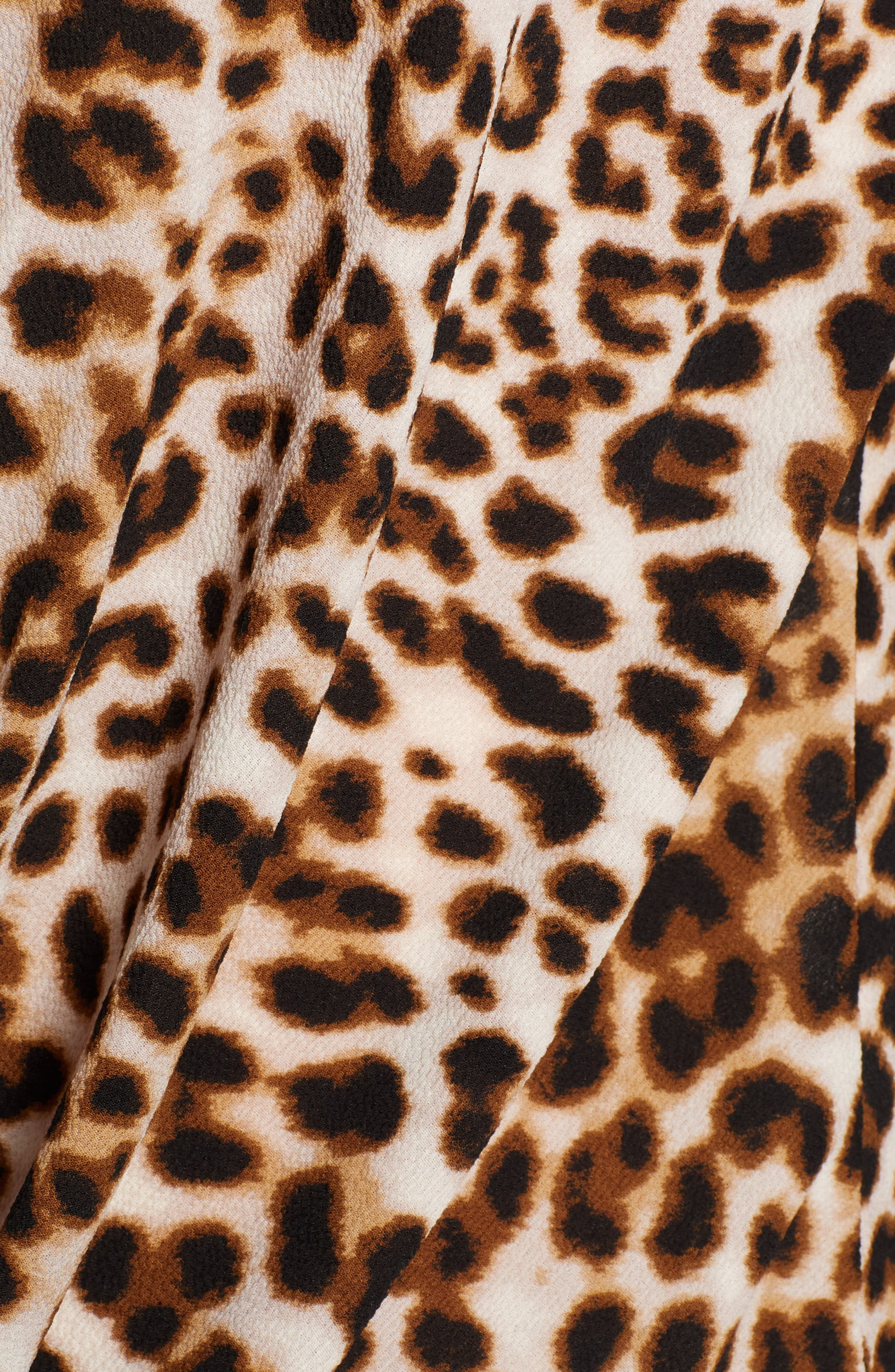 ALL IN FAVOR,                             Patterned Drape Front Blouse,                             Alternate thumbnail 5, color,                             LEOPARD PRINT