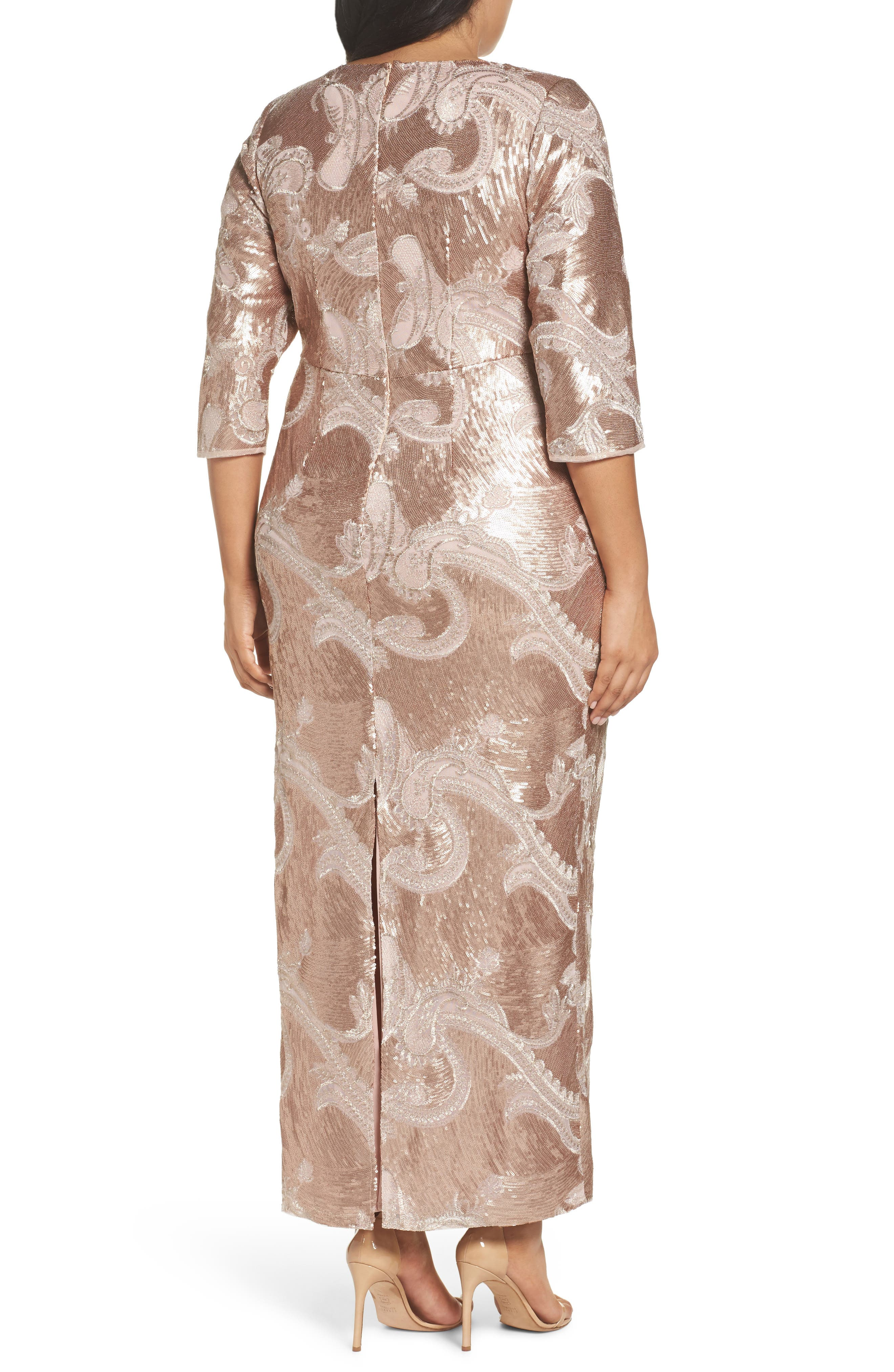 Sequin Lace Empire Gown,                             Alternate thumbnail 2, color,                             ROSE GOLD