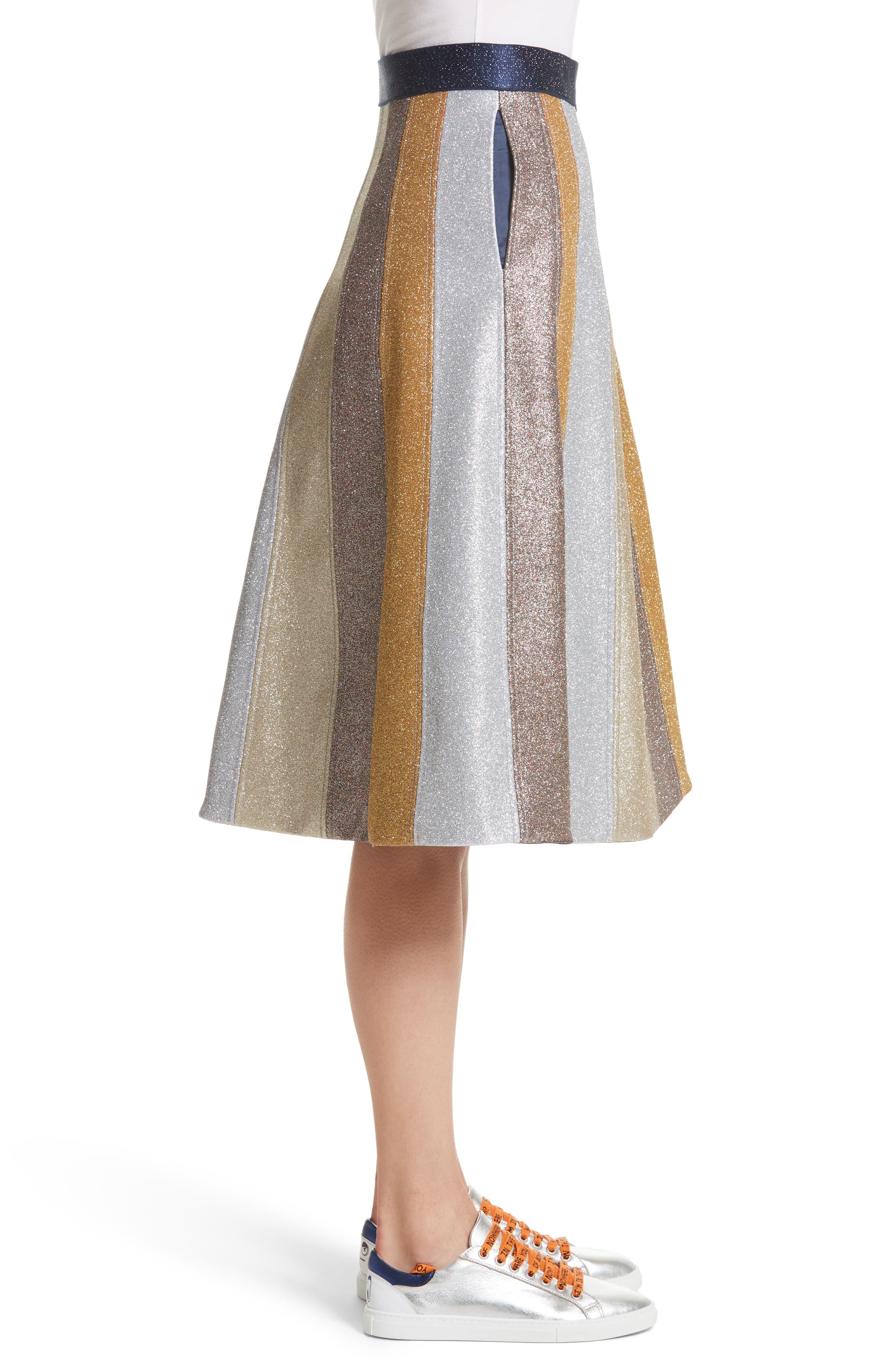 Glitter Panel A-Line Skirt,                             Alternate thumbnail 3, color,                             710