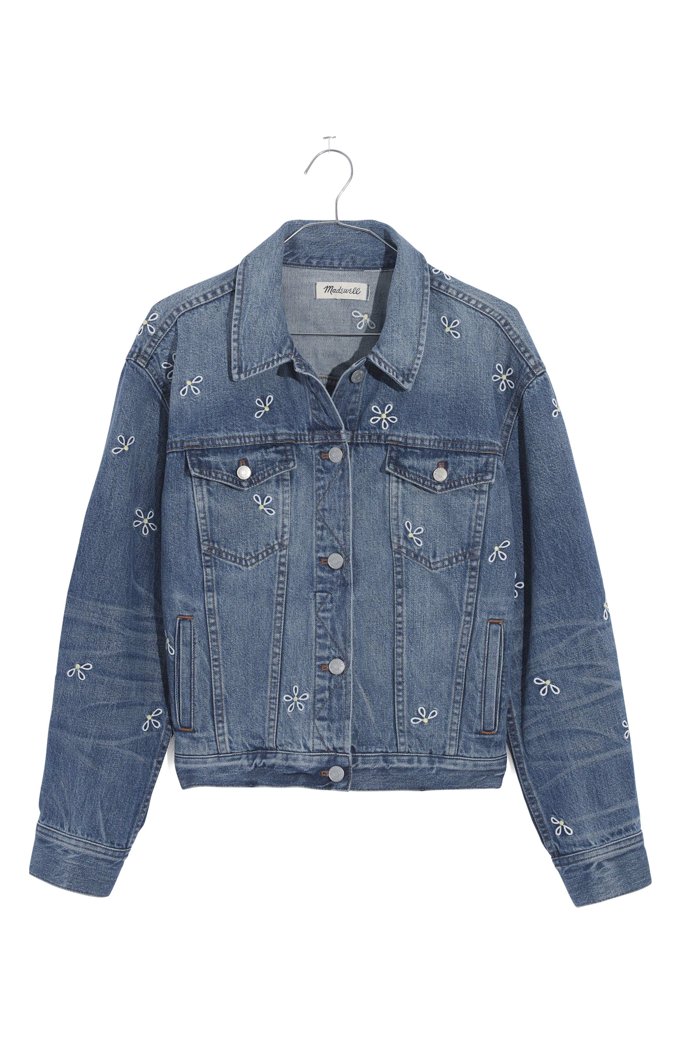 Daisy Embroidered Boxy Crop Denim Jacket,                             Alternate thumbnail 4, color,                             400