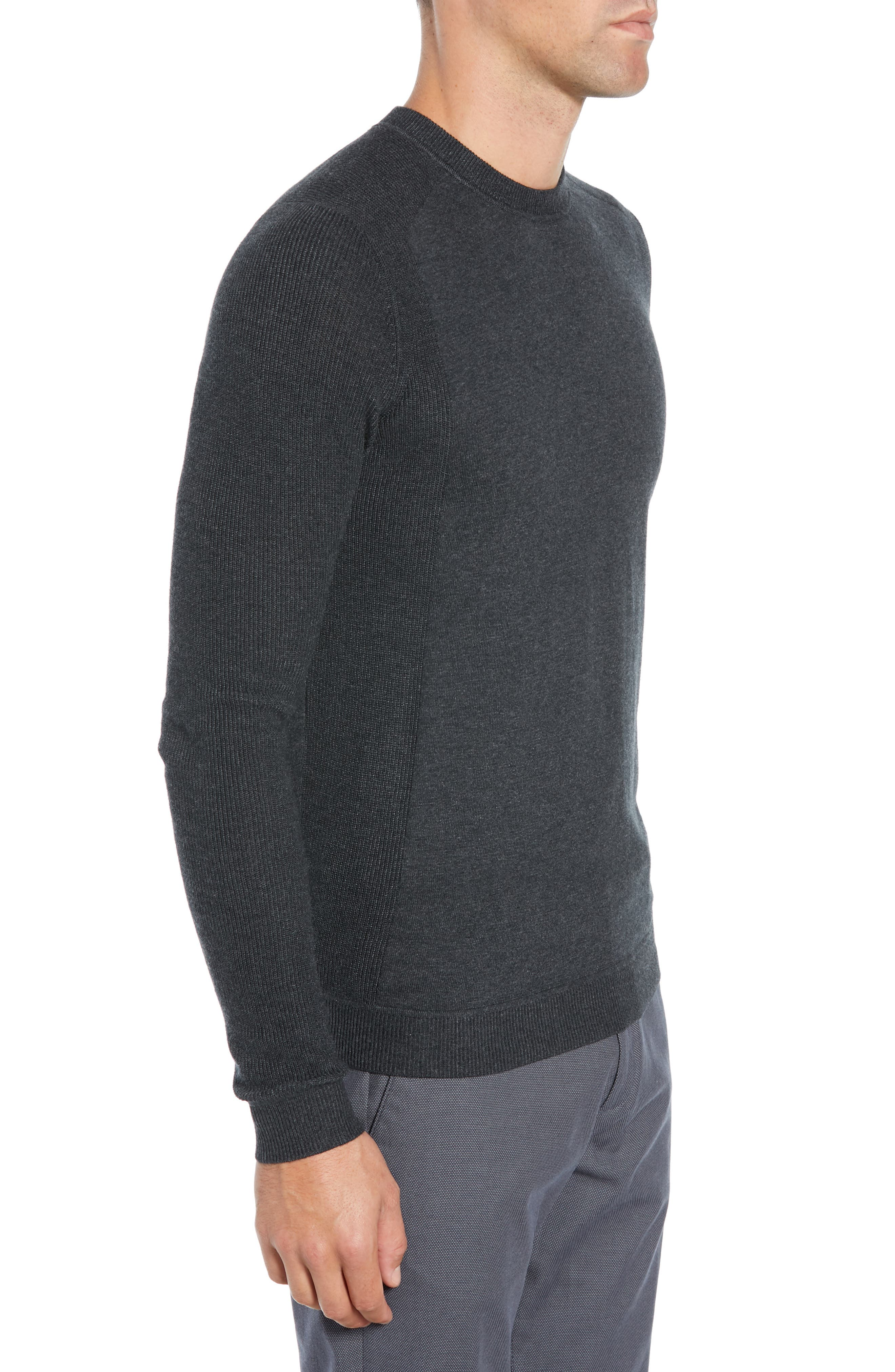 Reversy Slim Fit Crewneck Long Sleeve T-Shirt,                             Alternate thumbnail 3, color,                             CHARCOAL