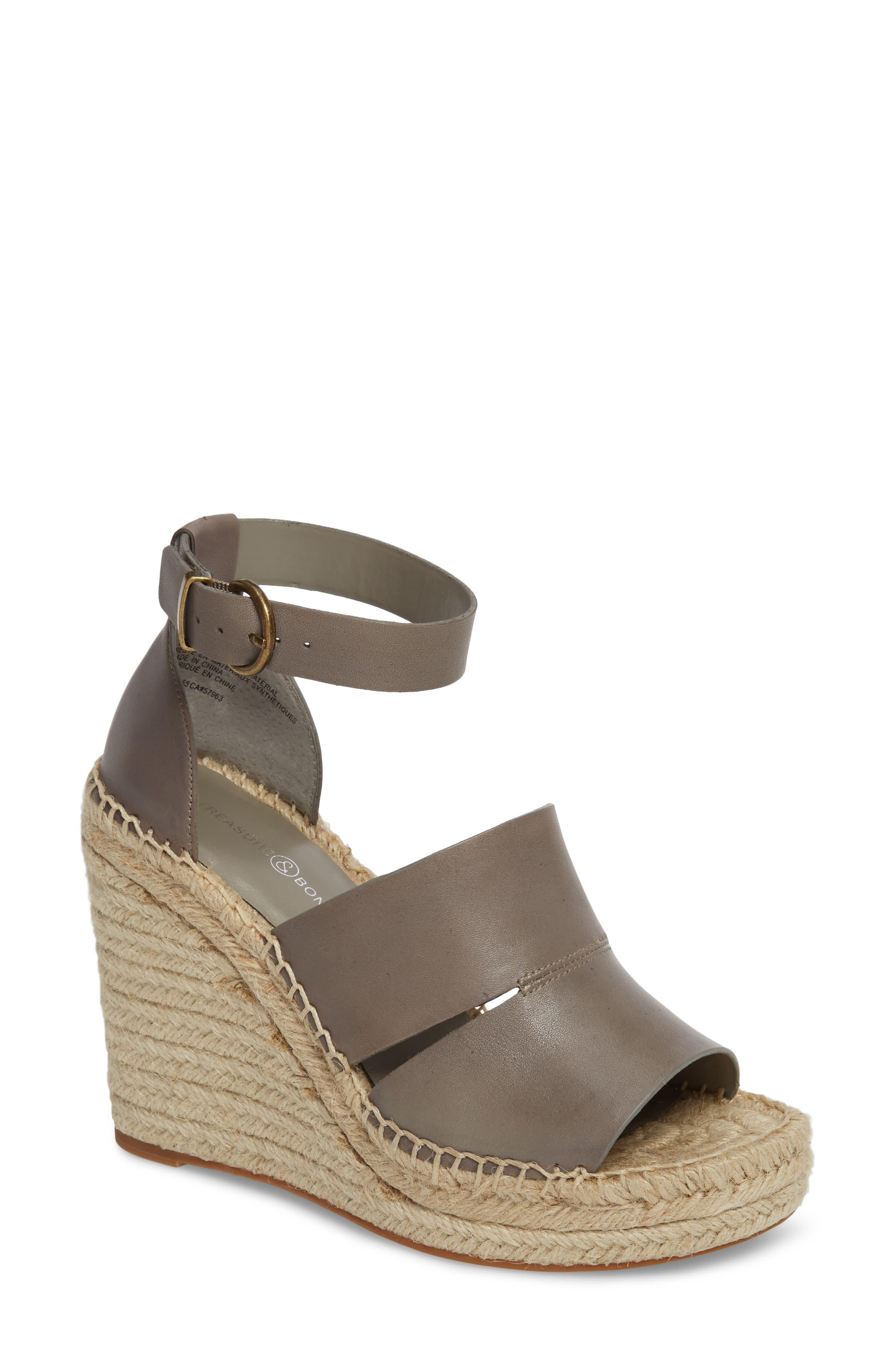 TREASURE & BOND Sannibel Platform Wedge Sandal, Main, color, GREY LEATHER