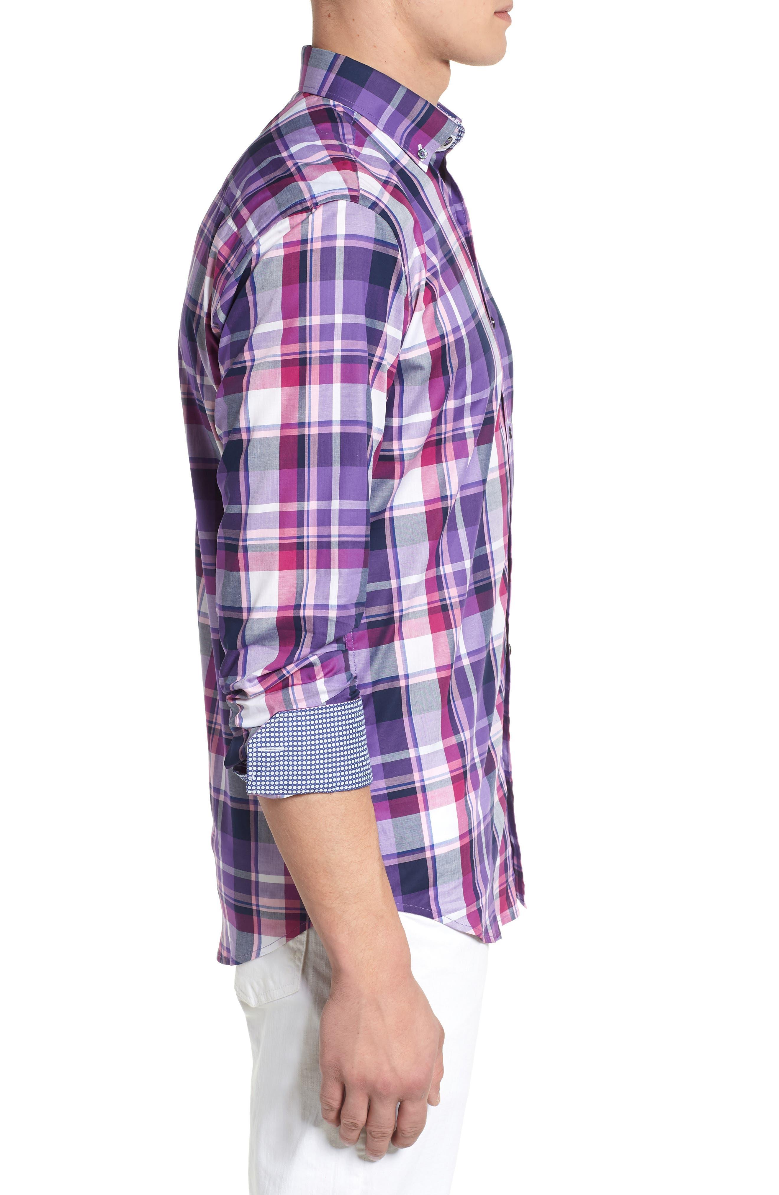 BUGATCHI,                             Shaped Fit Check Sport Shirt,                             Alternate thumbnail 3, color,                             500