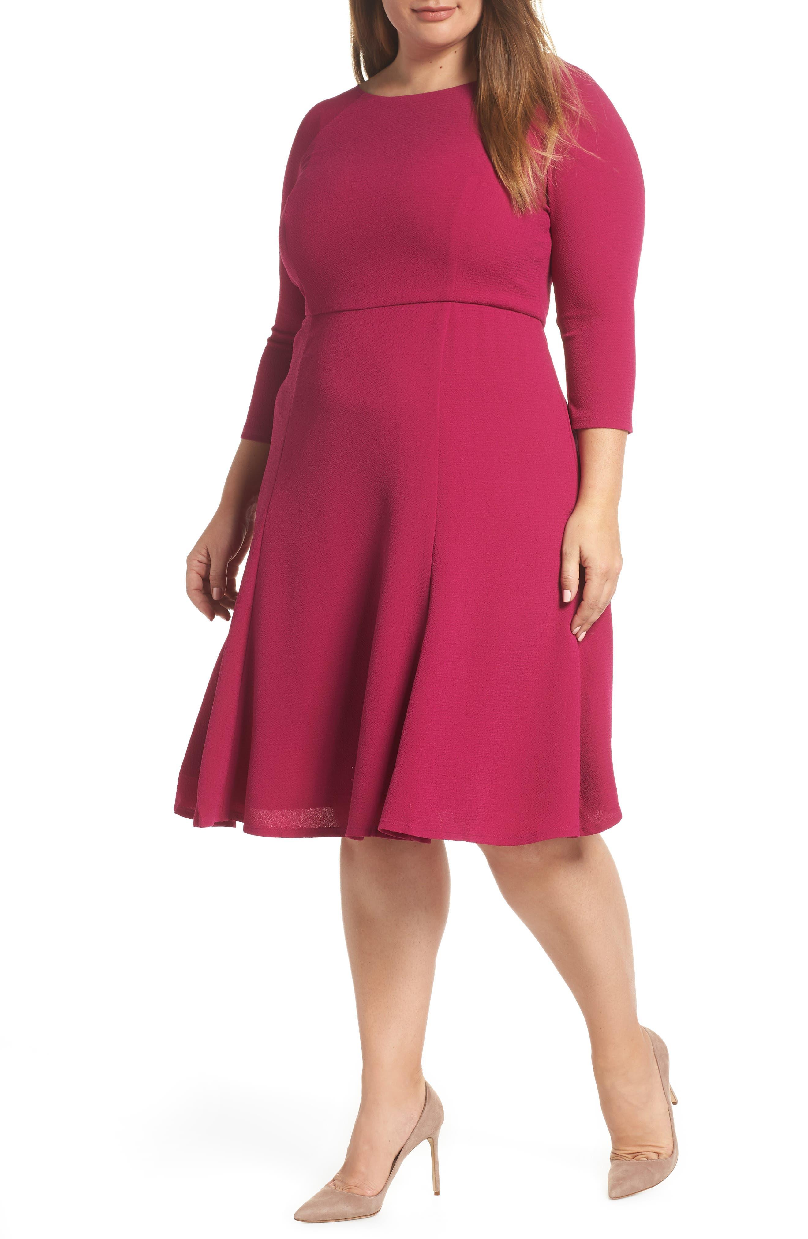 Plus Size Eliza J Crepe Fit & Flare Dress, Pink