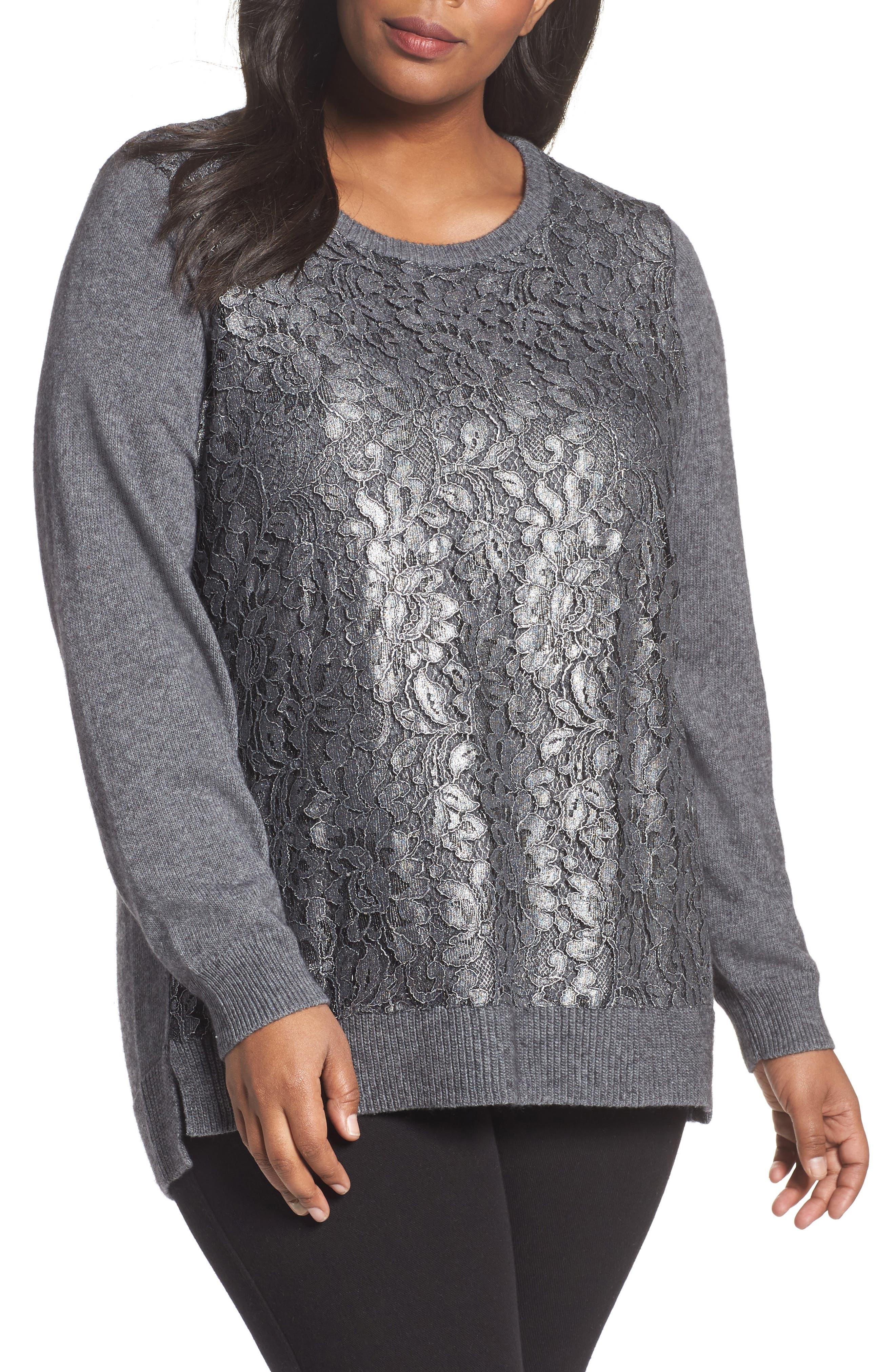 Pixie Metallic Lace Panel Sweater,                         Main,                         color, 037