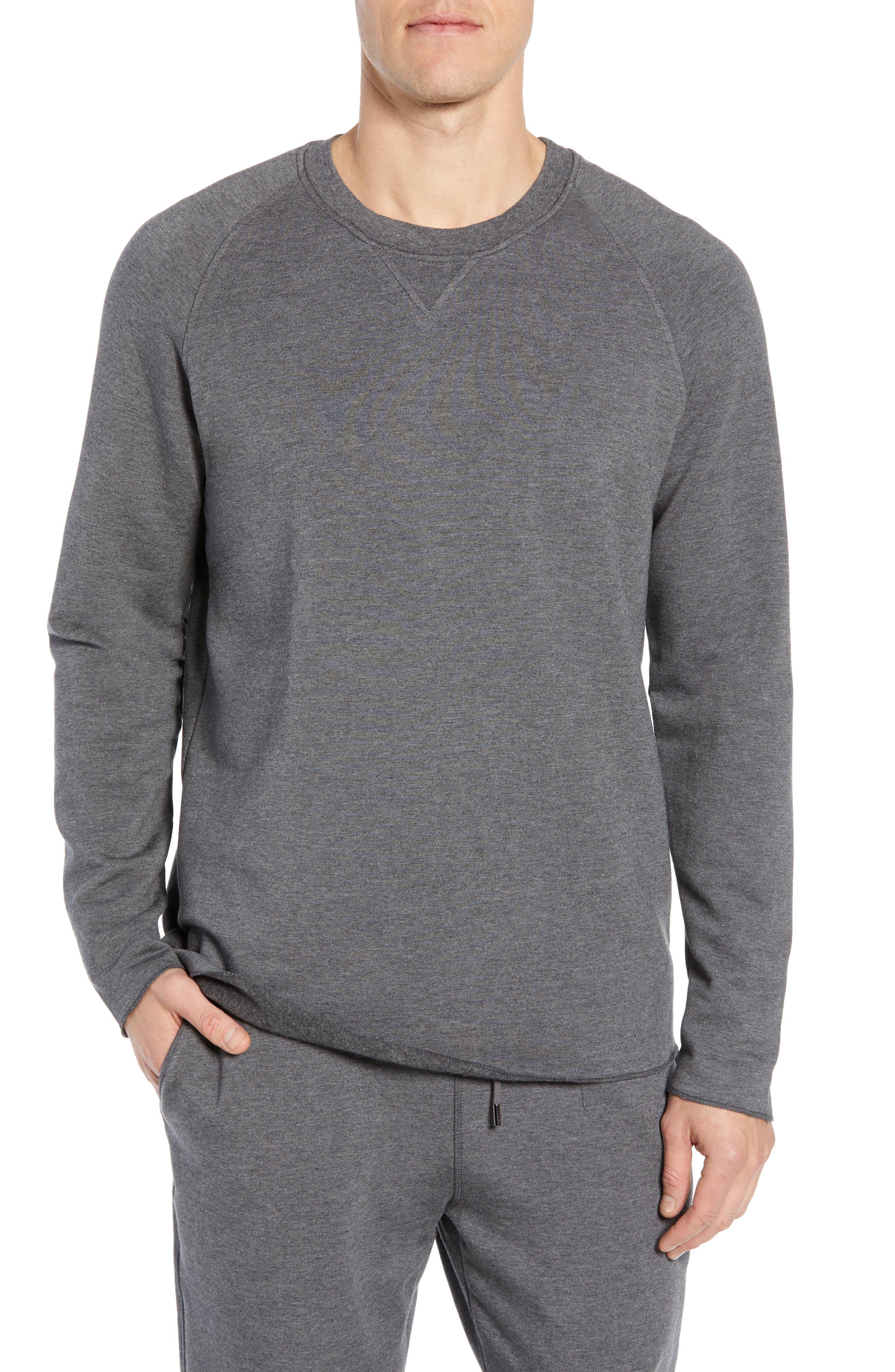DANIEL BUCHLER Crewneck Modal & Cotton Sweatshirt in Charcoal Heather