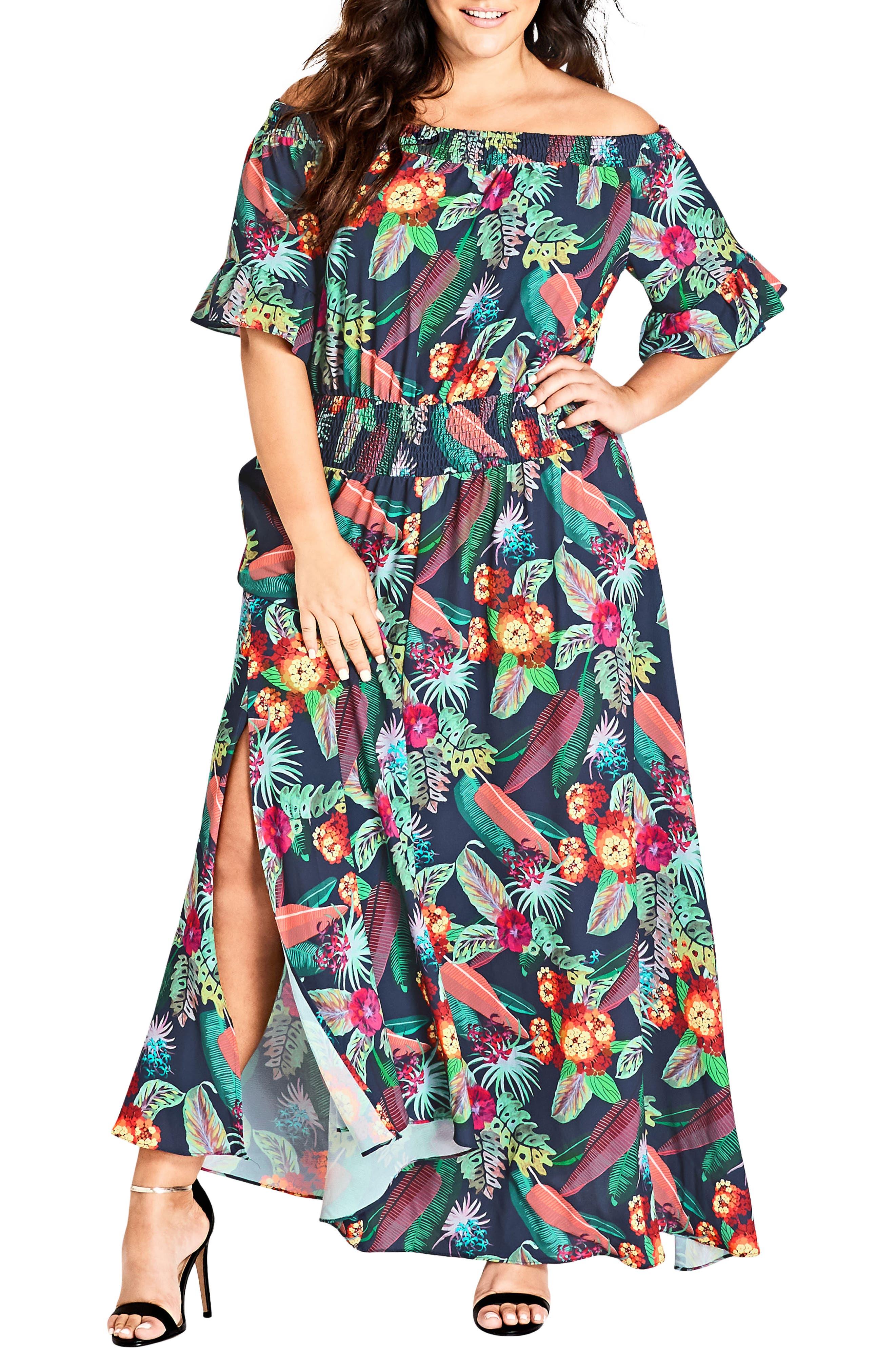 CITY CHIC,                             Jungle Jam Maxi Dress,                             Main thumbnail 1, color,                             415