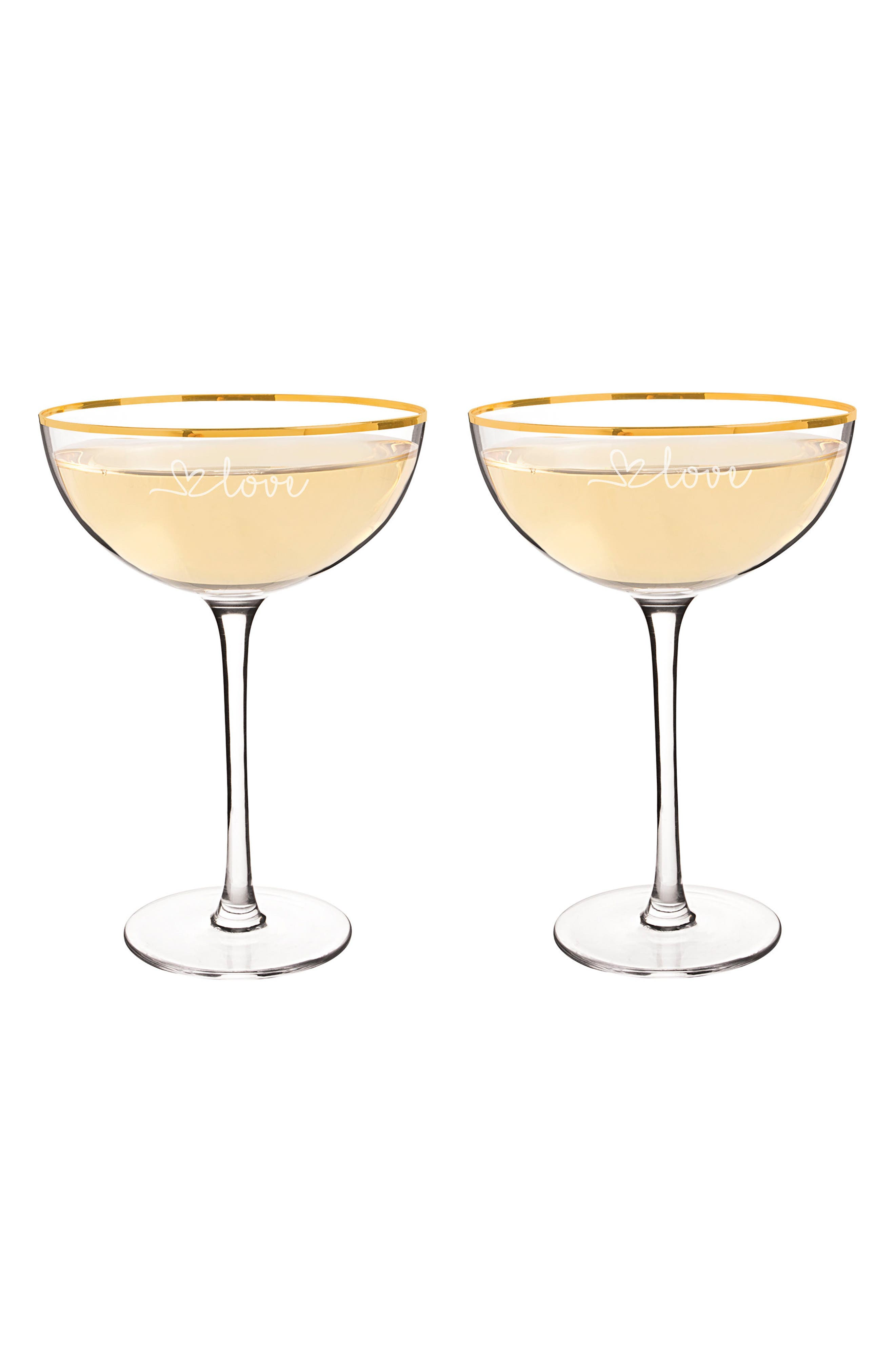 Love Set of 2 Champagne Coupe Toasting Glasses,                             Alternate thumbnail 2, color,                             710