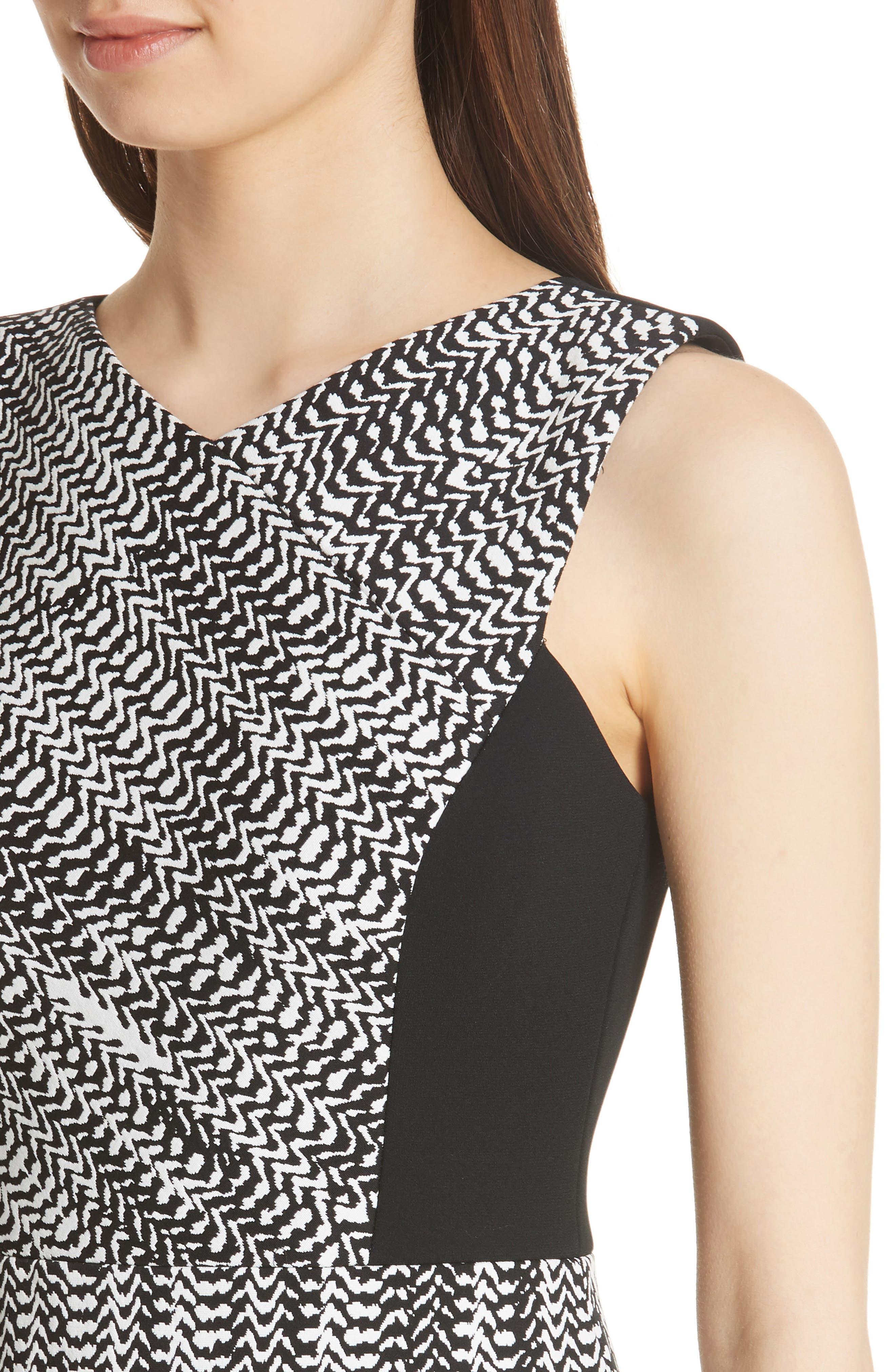 Herringbone Jacquard Sheath Dress,                             Alternate thumbnail 4, color,                             BLACK/ CHALK