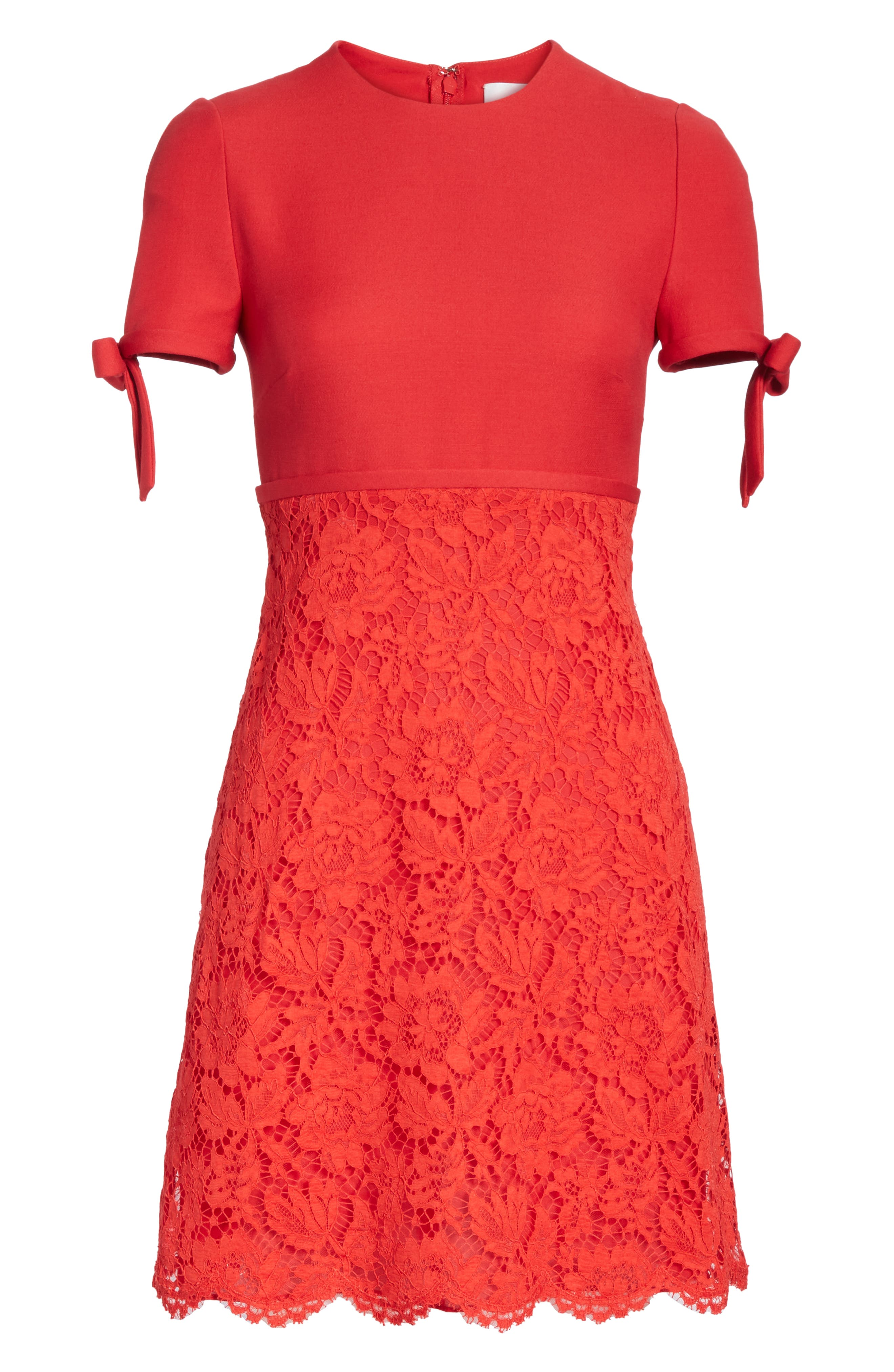 Bow Detail Lace Dress,                             Alternate thumbnail 6, color,                             RED